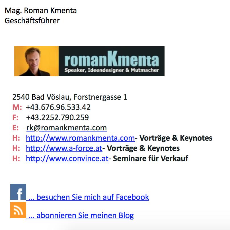 Touchpoint E-Mail Signatur - Blog Kmenta, Redner und Autor