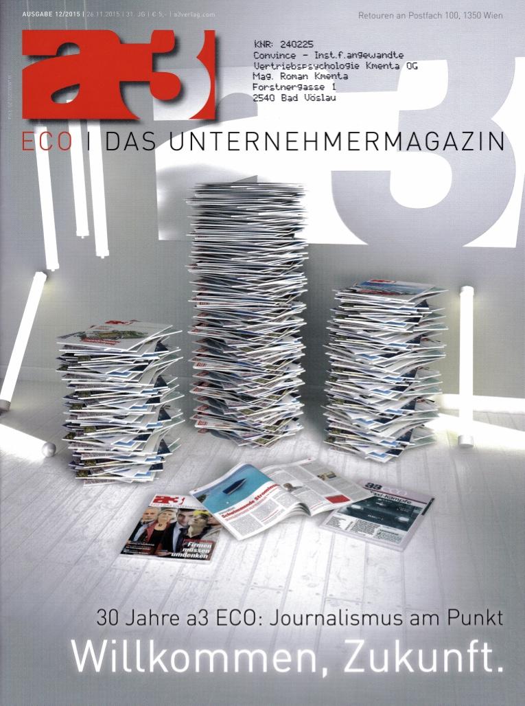 a3 ECO 1 12:2015 - Verkauf im Wandel - Autor Roamn Kmenta - Unternehmer und Redner