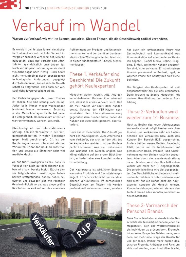 a3 ECO 2 12:2015 - Verkauf im Wandel - Autor Roman Kmenta - Unternehmer und Redner