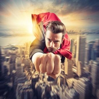 Businessman superhero flies faster in the sky