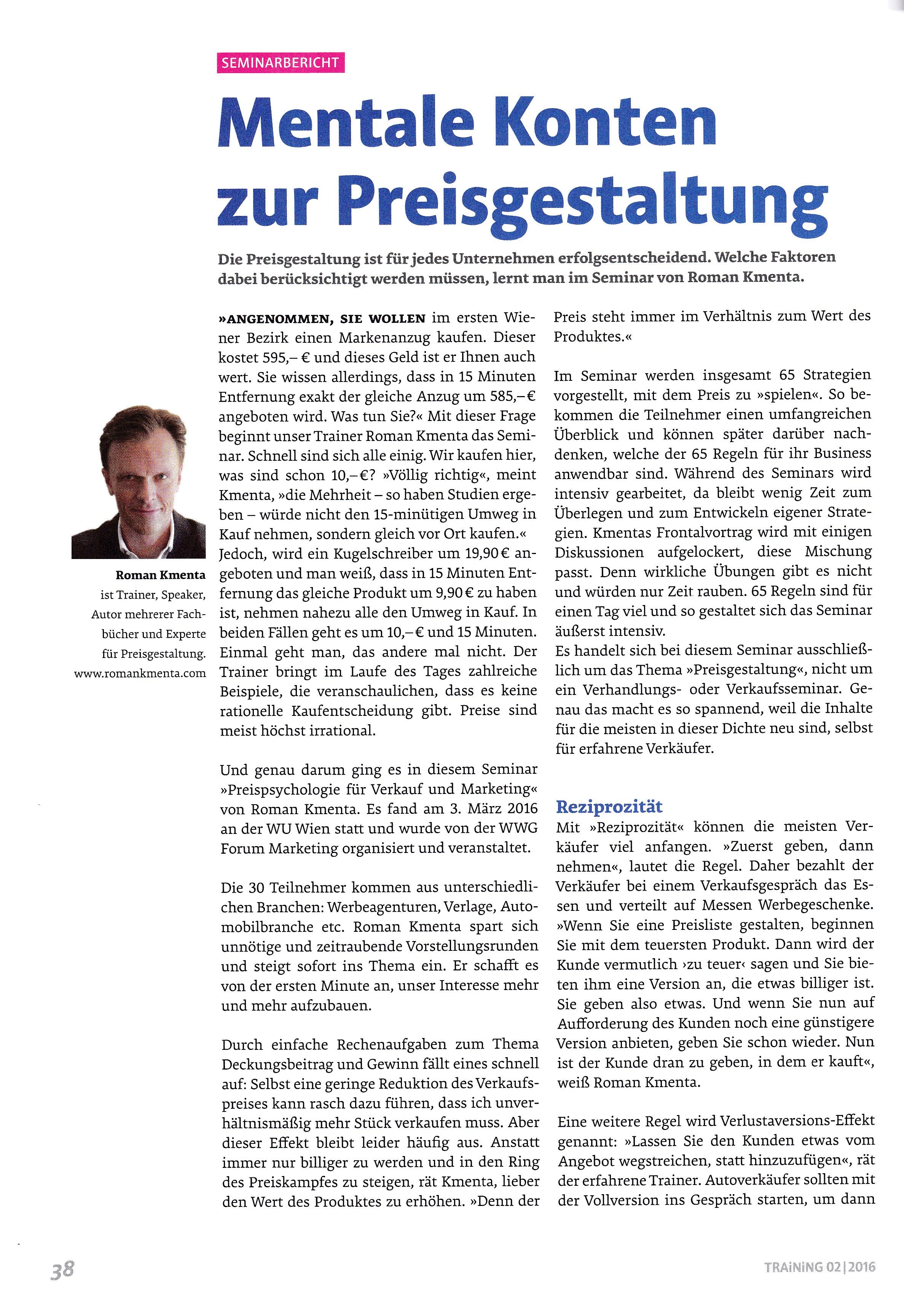 TRAINING Magazin - Seite 1- Roman Kmenta - Vortragsredner und Autor