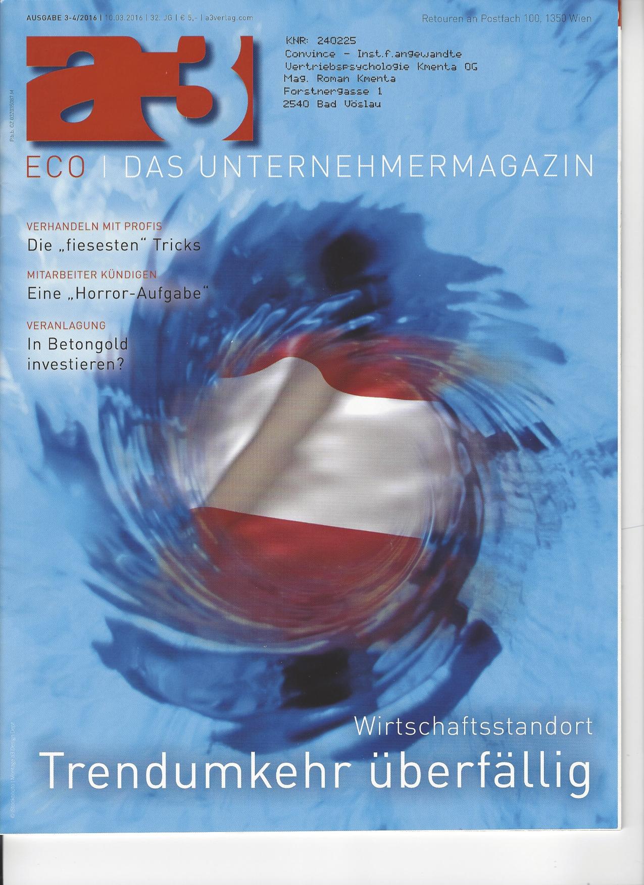 Tückische Taktiken Titelblatt - a3 ECO Magazin 03/2016 - Roman Kmenta - Vortragsredner und Autor