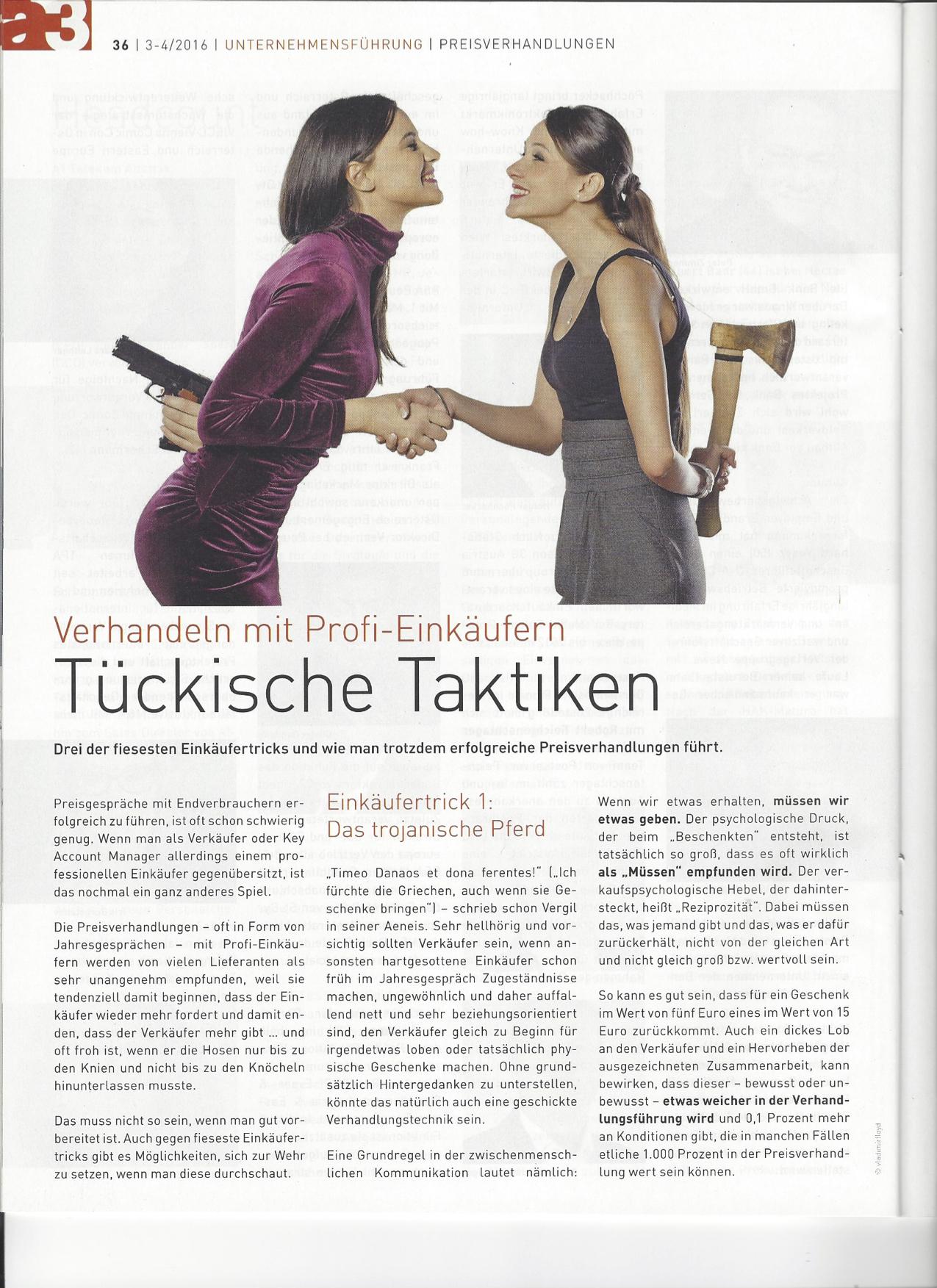 Tückische Taktiken Seite 1- a3 ECO Magazin 03/2016 - Roman Kmenta - Vortragsredner und Autor