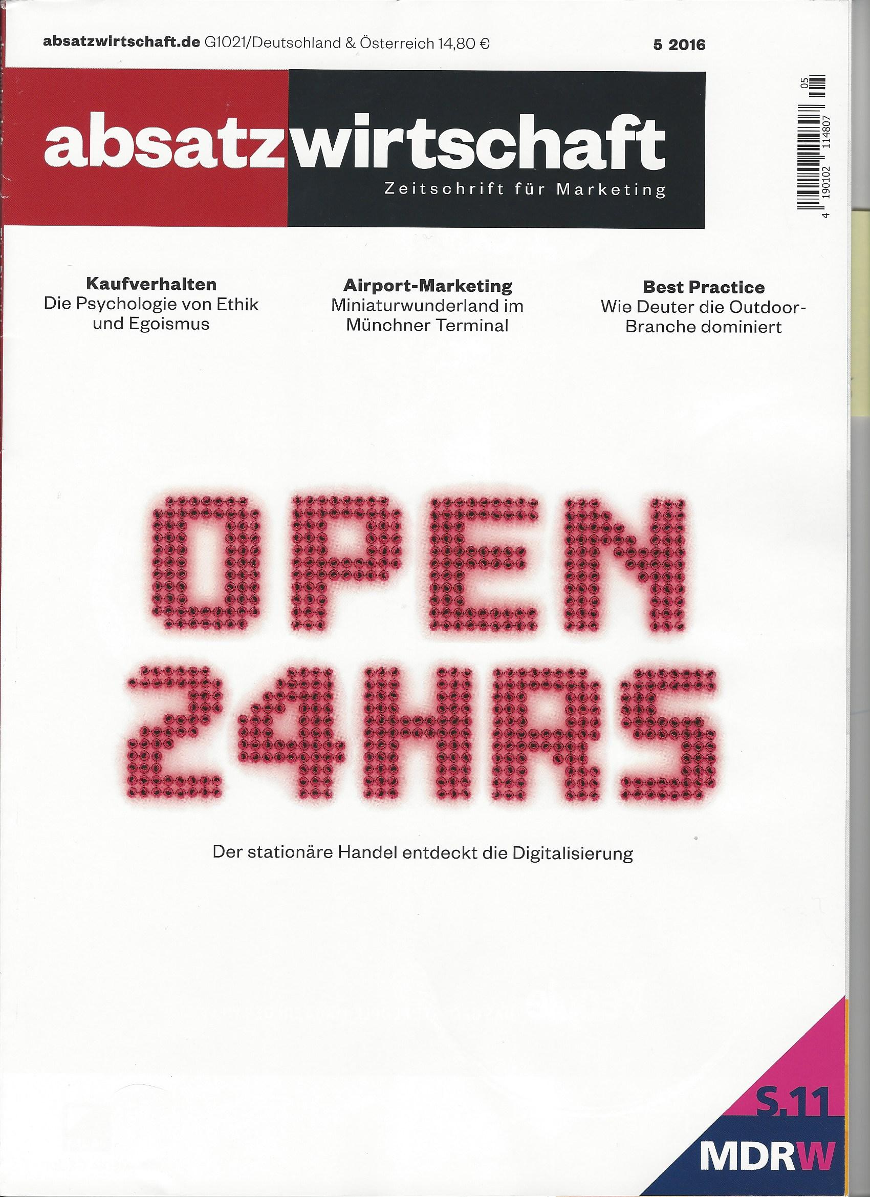 absatzwirtschaft zeitschrift für Marketing - Cover - 5 2016 - Roman Kmenta - Unternehmer und Keynote Speaker