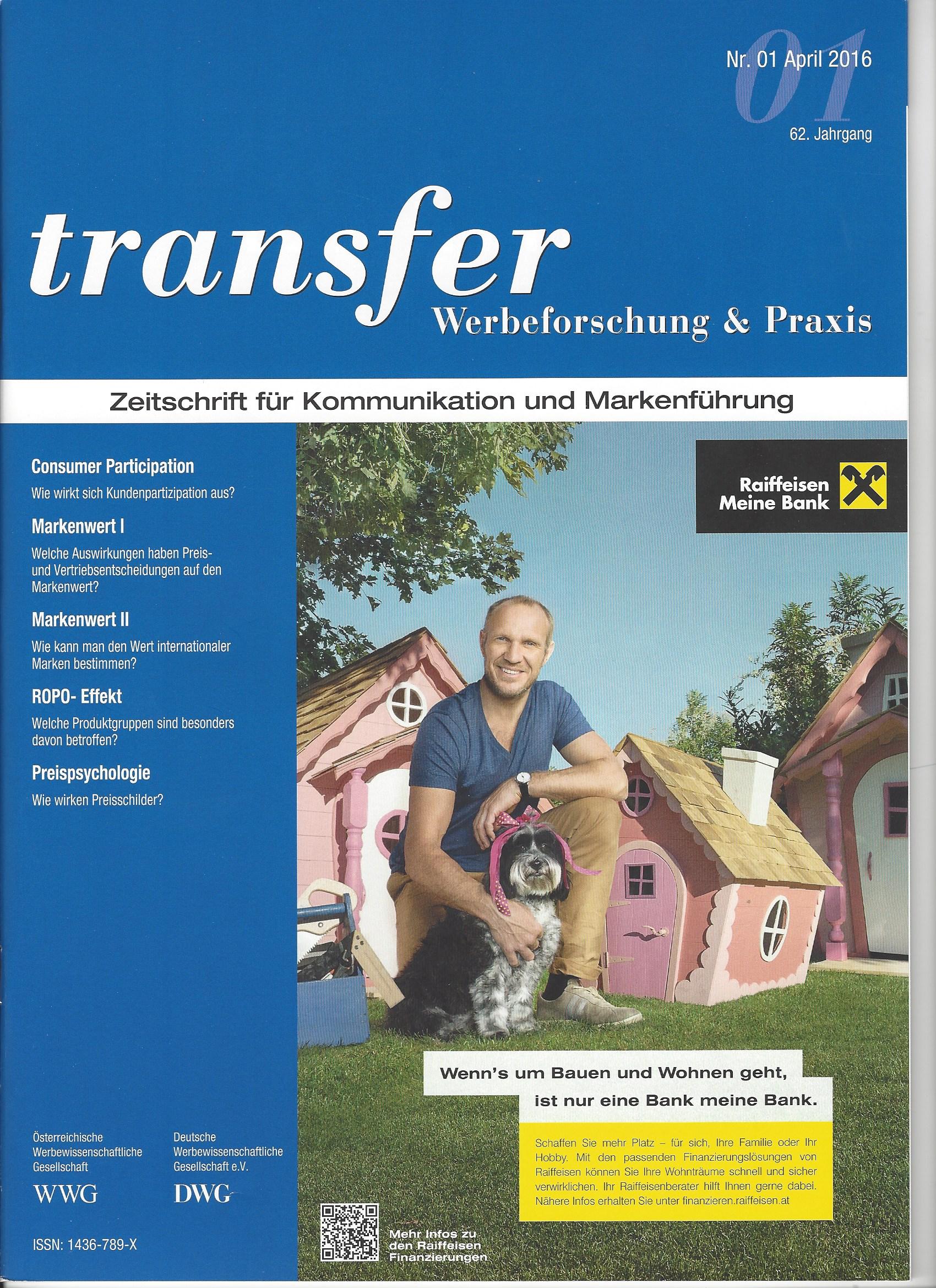 transfer - Titelblatt - 04/2016 - Roman Kmenta- Unternehmer und Keynote Speaker