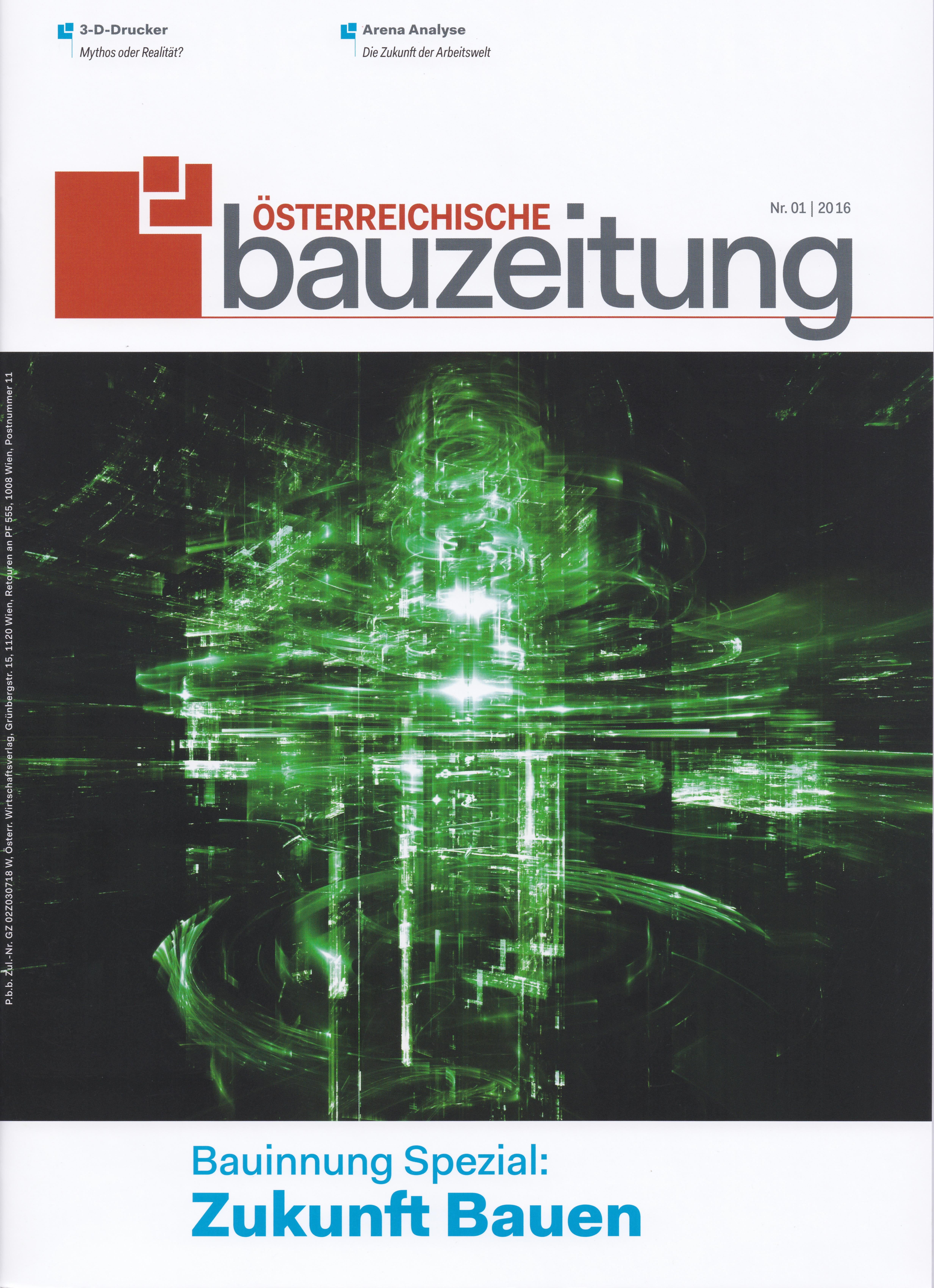 Österreichische Bauzeitung 1 _ 2016 - Roman Kmenta - Titelseite - Autor und Keynote Speaker