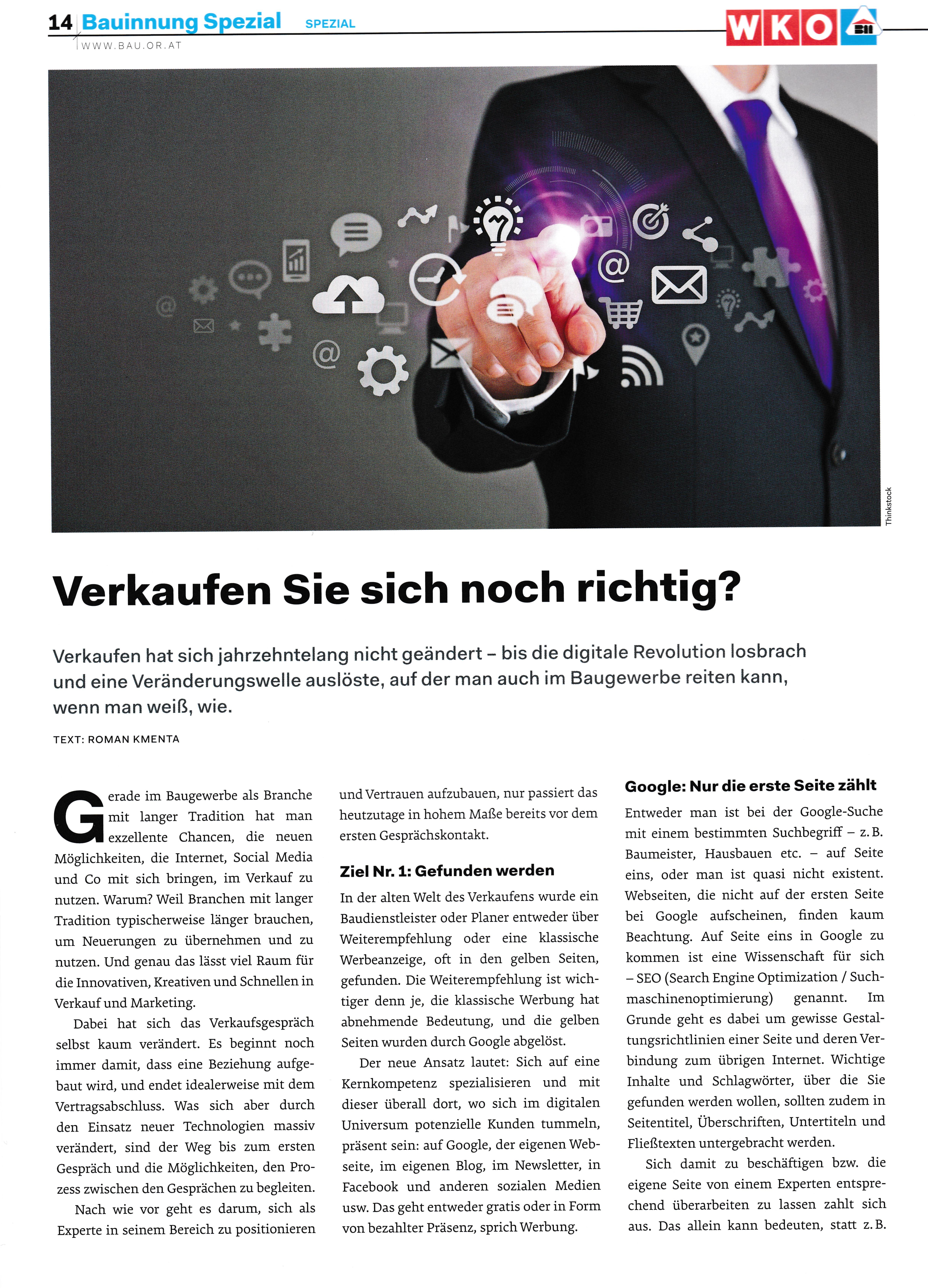 Österreichische Bauzeitung 1 _ 2016 - Roman Kmenta 2 - Autor und Keynote Speaker