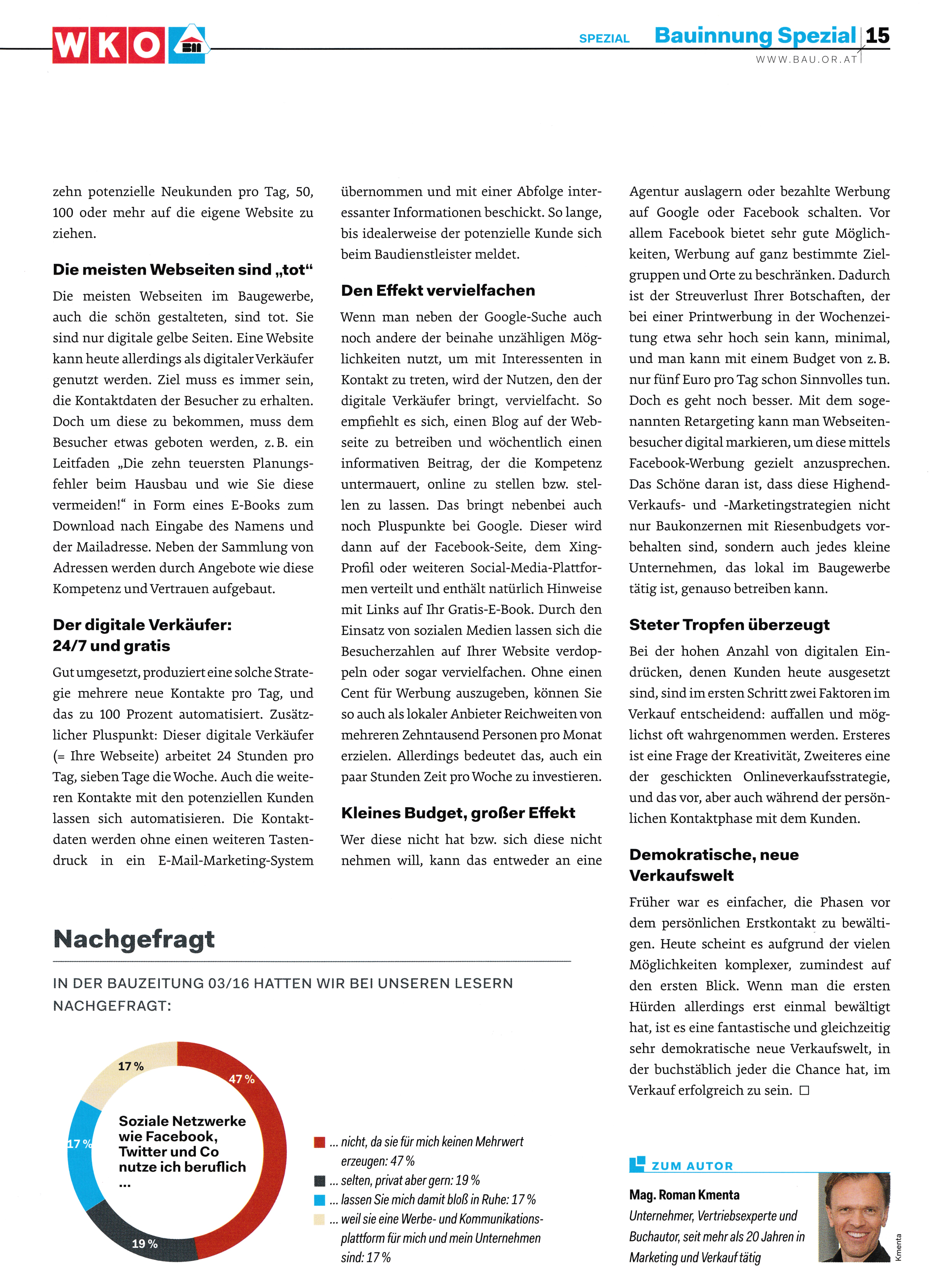 Österreichische Bauzeitung 1 _ 2016 - Roman Kmenta 3 - Autor und Keynote Speaker