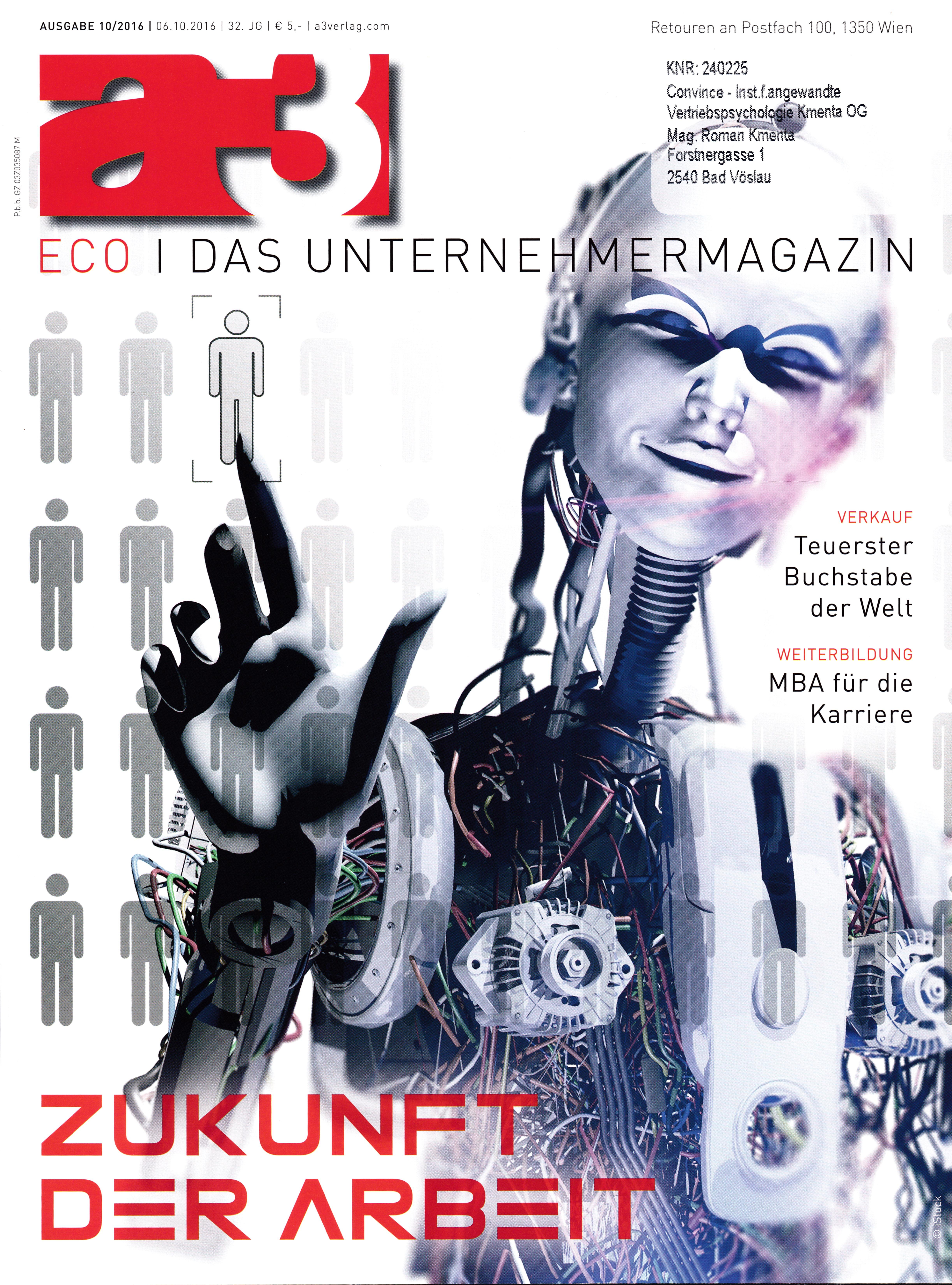 a3 ECO 10/2016 - Cover - Der teuerste Buchstabe der Welt- Roman Kmenta - Unternehmer und Trainer