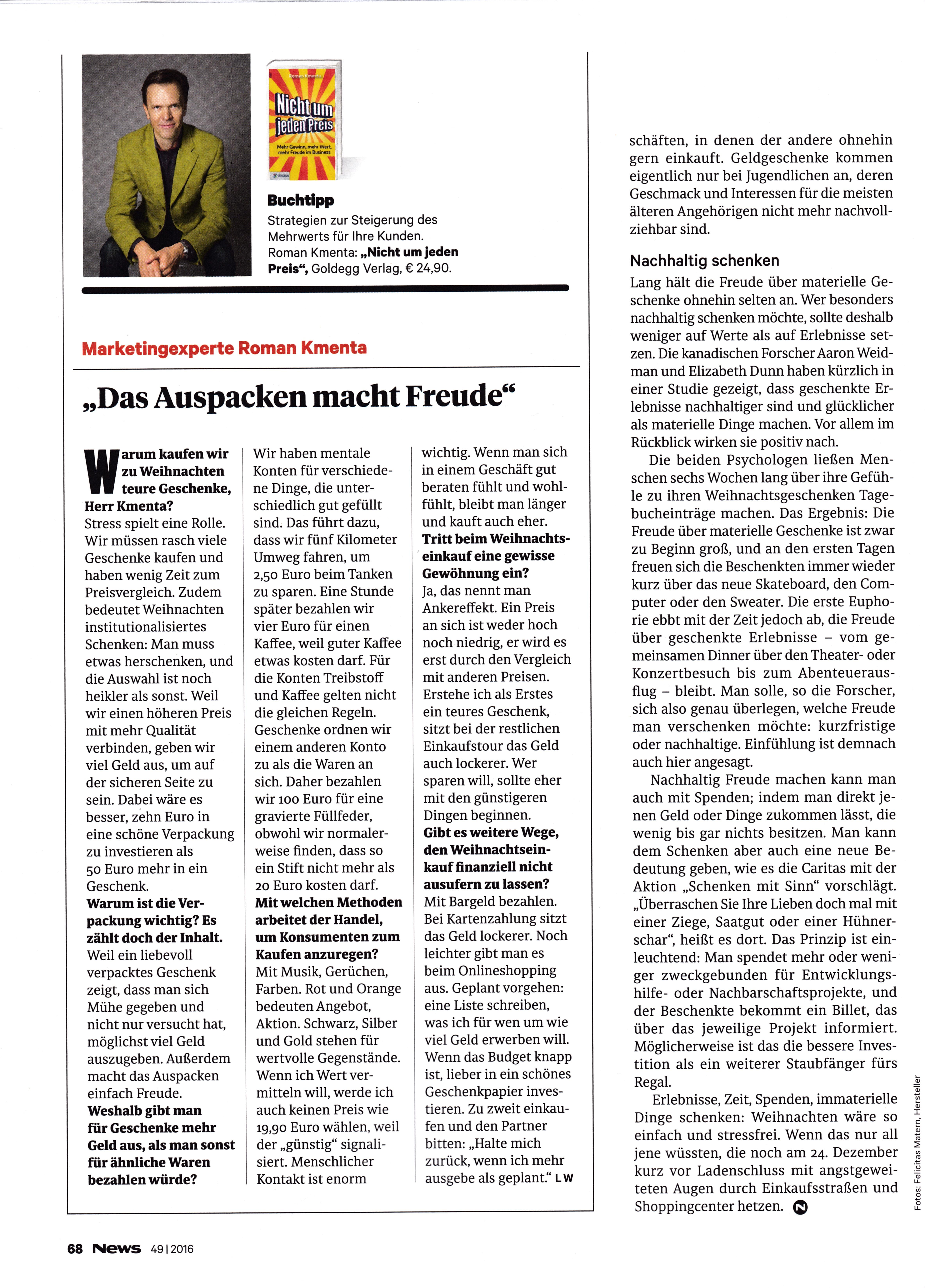 """NEWS 12/16 - """"Das Auspacken macht Freude"""" - Roman Kmenta - Marketingexperte und Keynote Speaker"""
