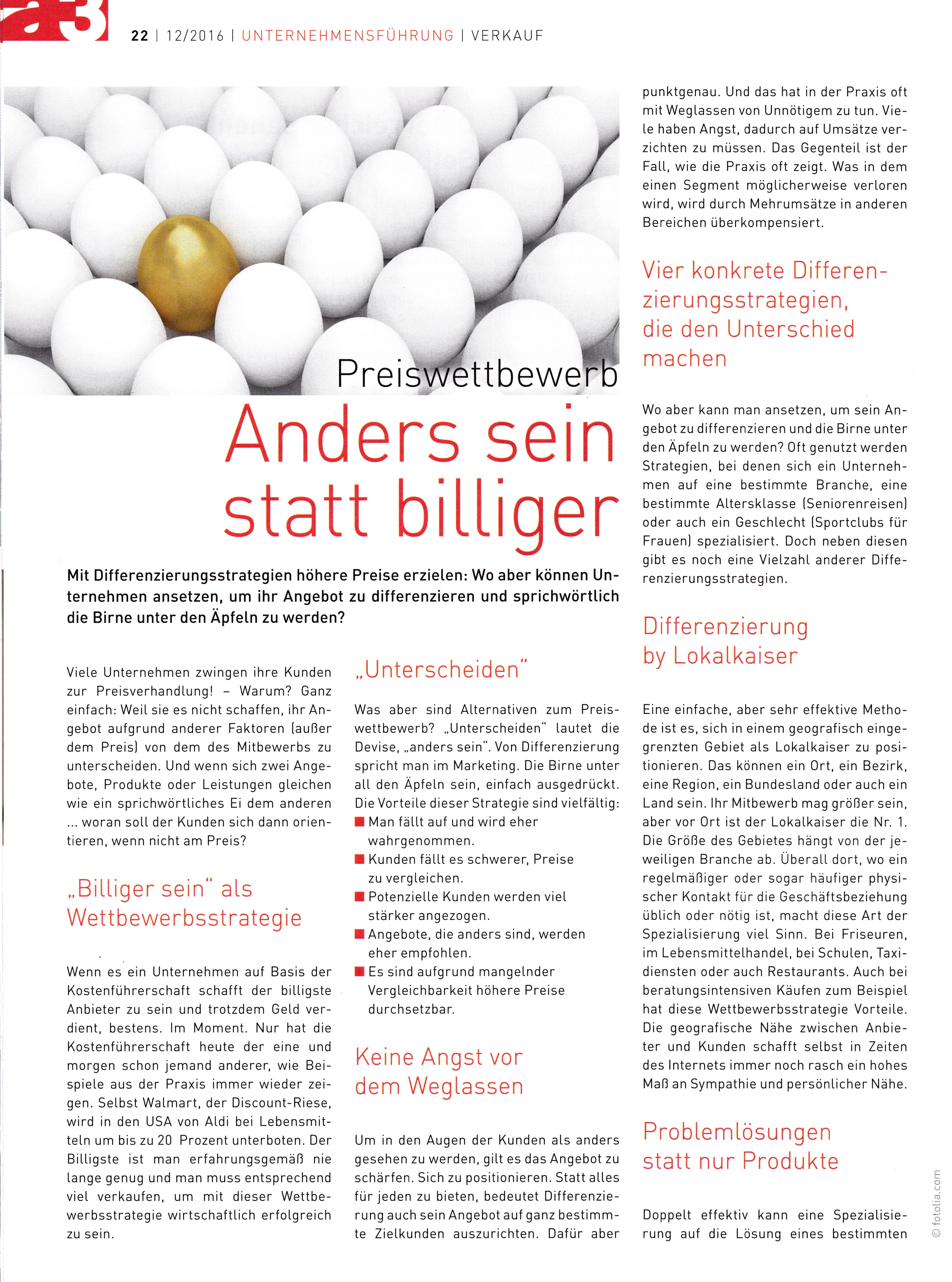 a3 ECO 12/2016 - Seite 1 -  Anders sein statt billiger - Roman Kmenta - Keynote Speaker und Trainer