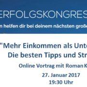 """Erfolgskongress 2017 - Vortrag """"Mehr Einkommen"""" - Roman Kmenta - Keynote Speaker und Unternehmer"""