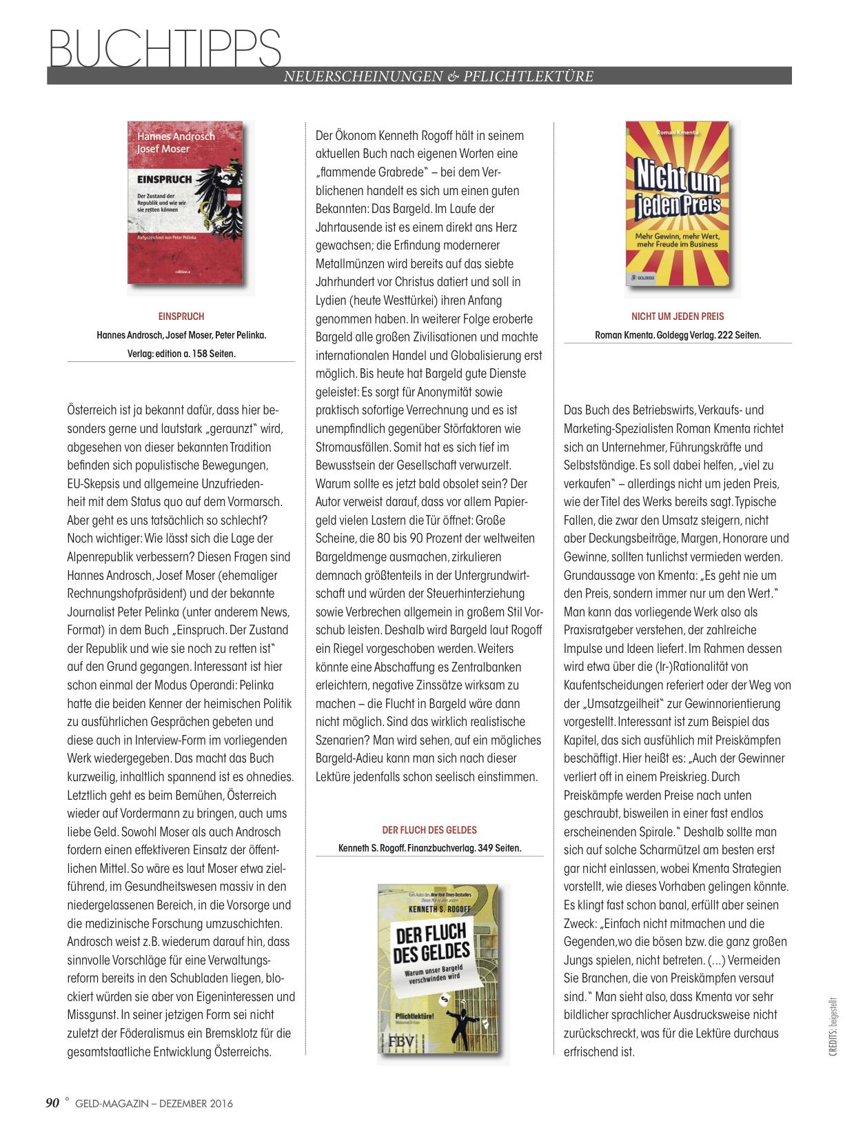 Geld Magazin Buchtipps 12/16 - Nicht um jeden Preis - Roman Kmenta - Autor und Trainer