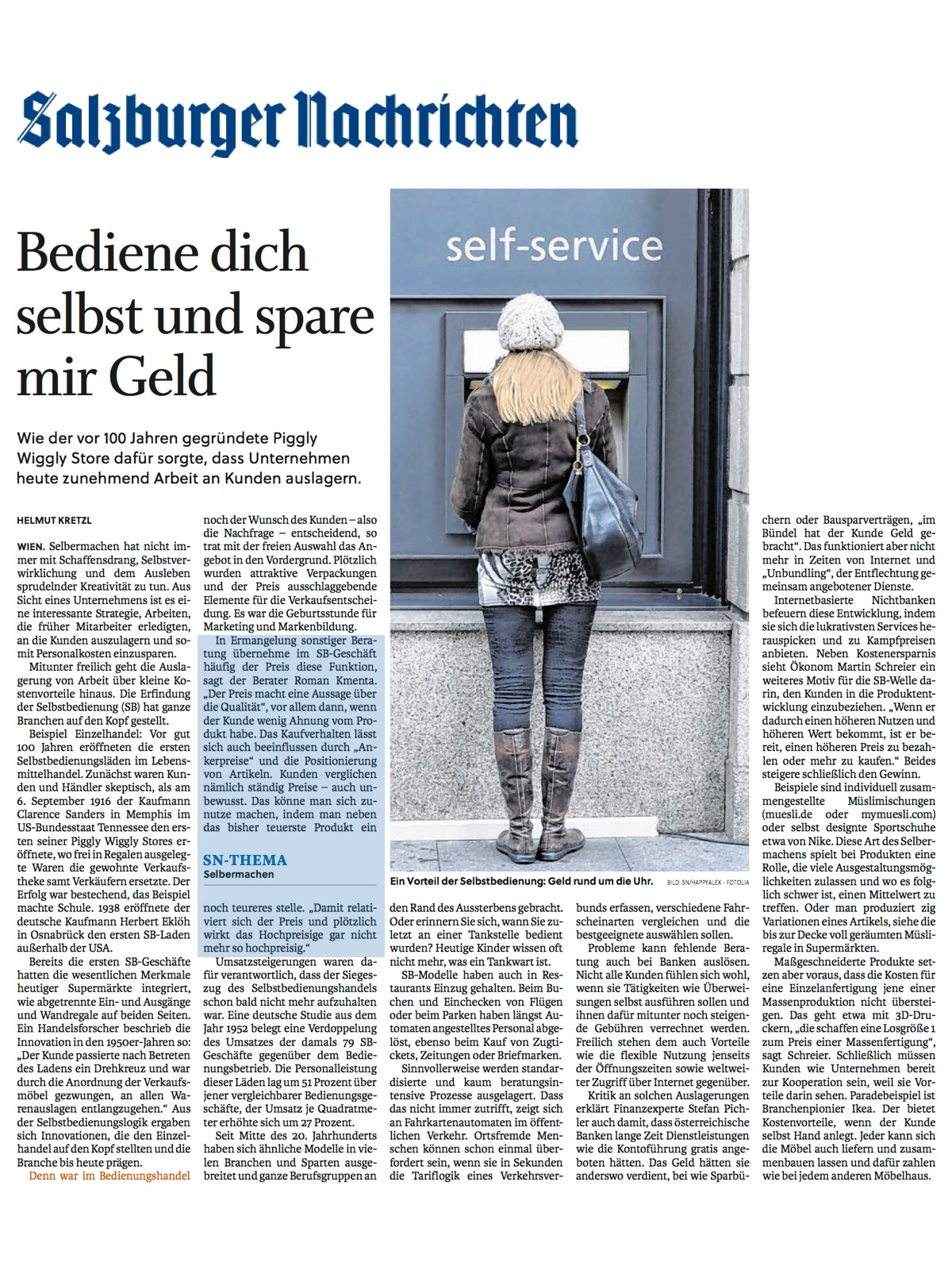 Salzburger Nachrichten - Artikel Selbstbedienung - 01/2017 - Roman Kmenta - Vortragsredner und Autor