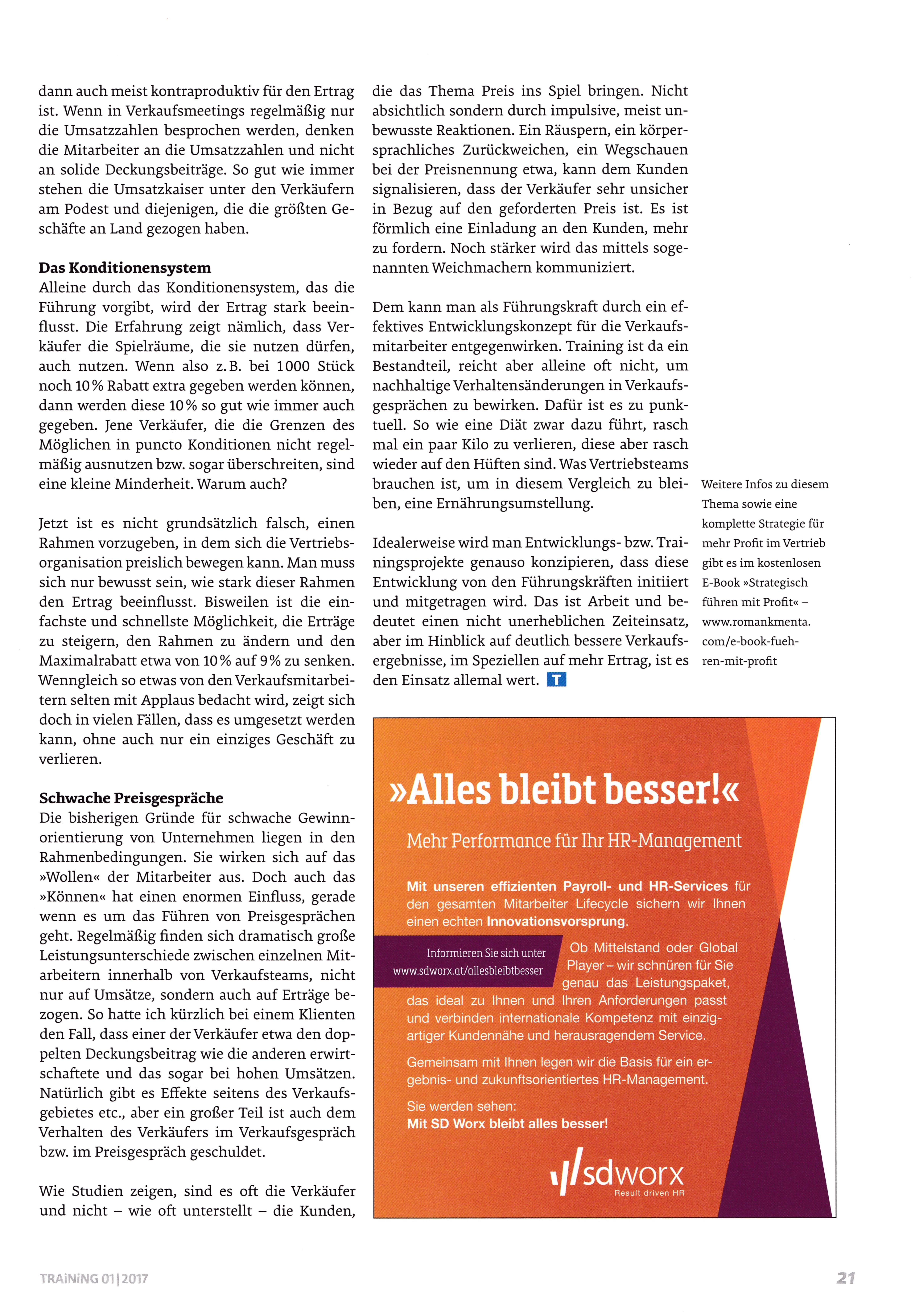 Magazin Training 01-2017 - S. 2 - Führen mit Profit - Roman Kmenta - Keynote Speaker und Autor