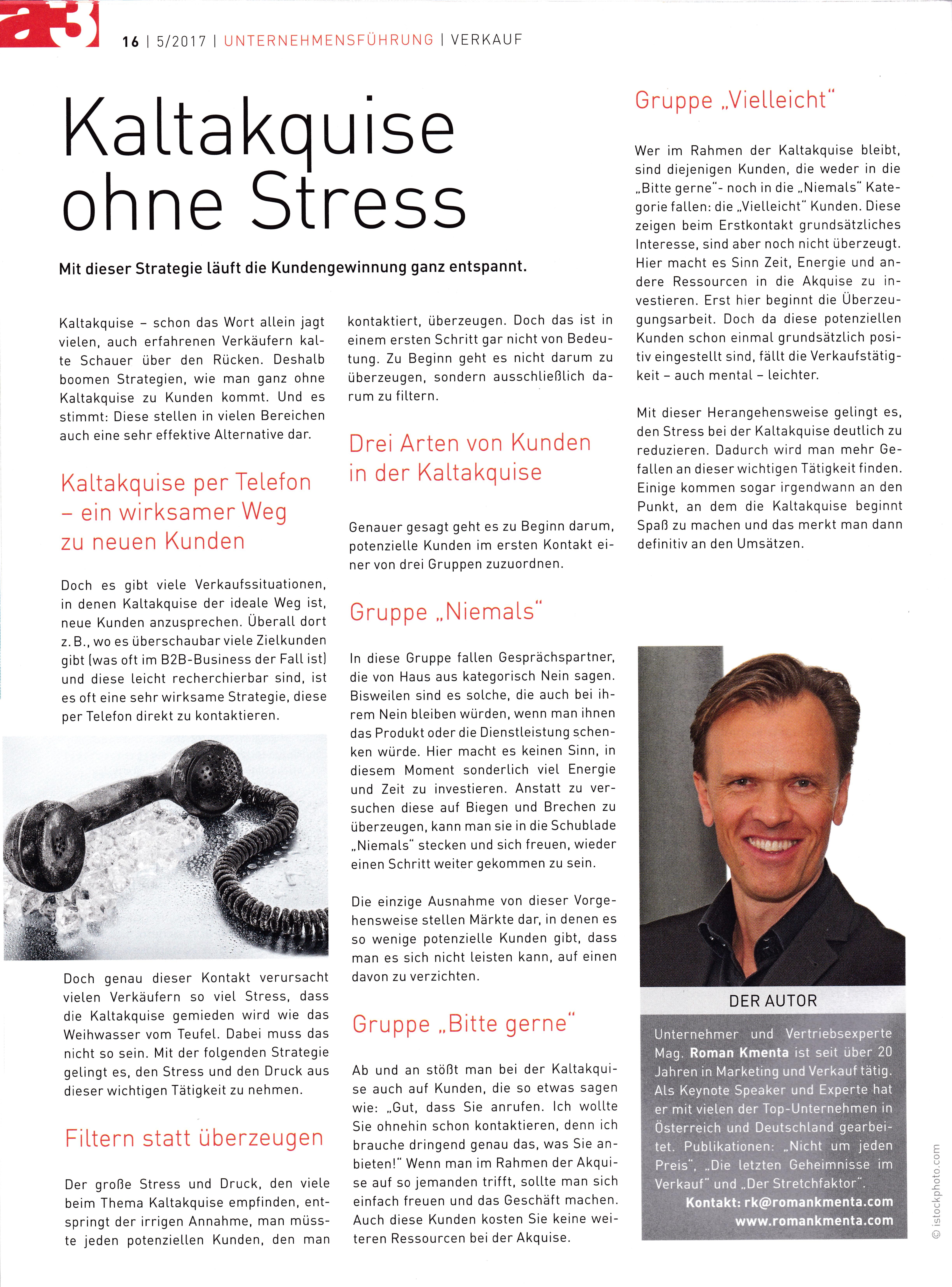 a3 ECO Unternehmermagazin 5-2017 - 1 - Kaltakquise- Roman Kmenta - Keynote Speaker und Autor