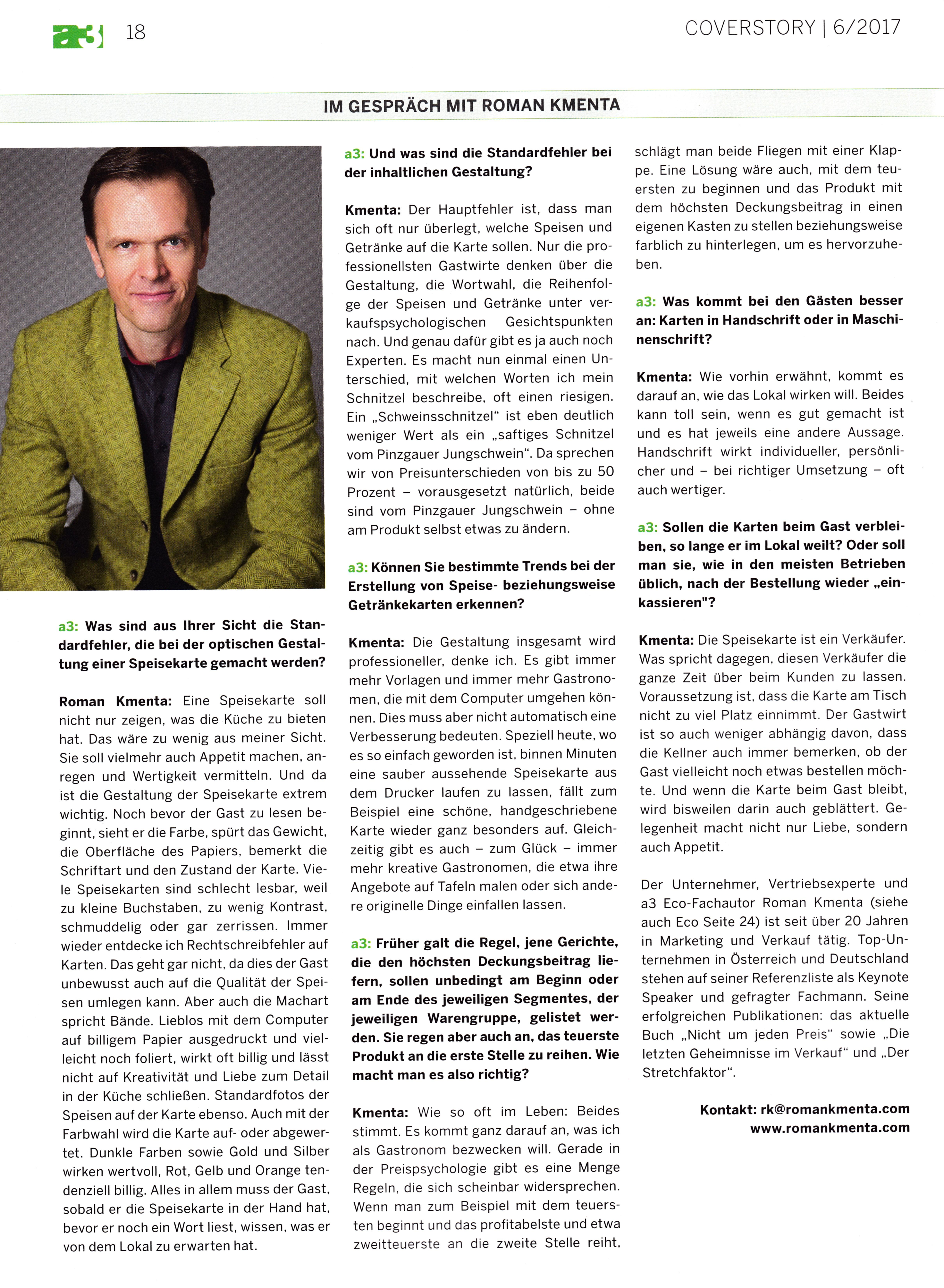 a3 Gast 6_2017 4 - Roman Kmenta - Experte für Preispsychologie, Berater und Trainer