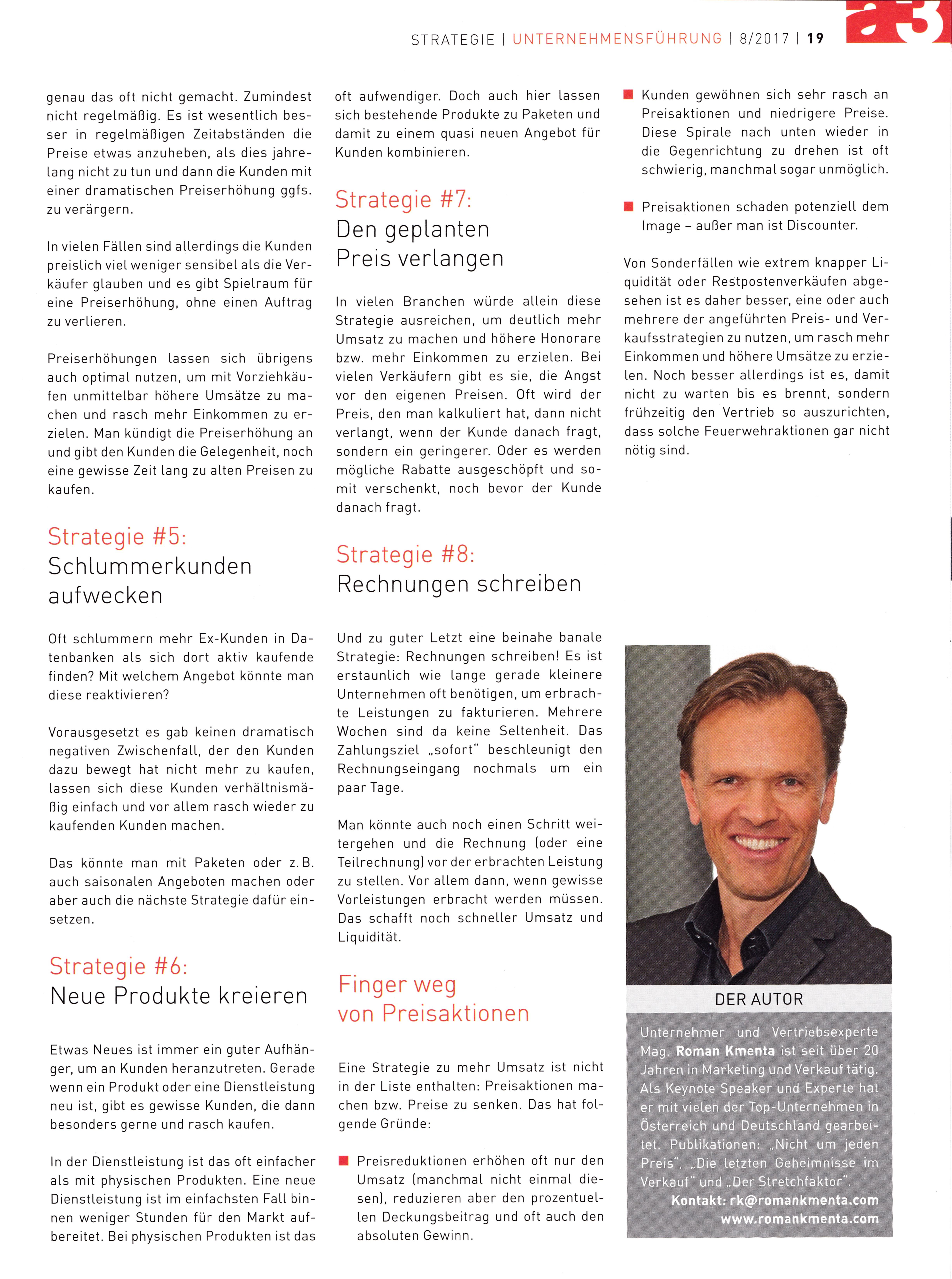 a3 ECO 8-2017 - 2 - Erste Hilfe für mehr Einkommen - Roman Kmenta - Keynote Speaker und Autor