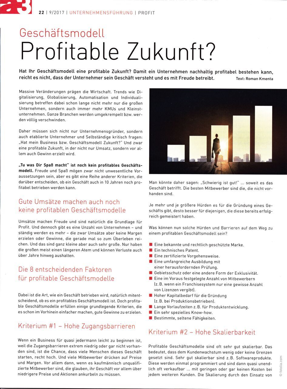 Geschäftsmodell profitable Zukunft? a3 Eco 09-2017 - Seite 1 - Roman Kmenta - Trainer und Autor