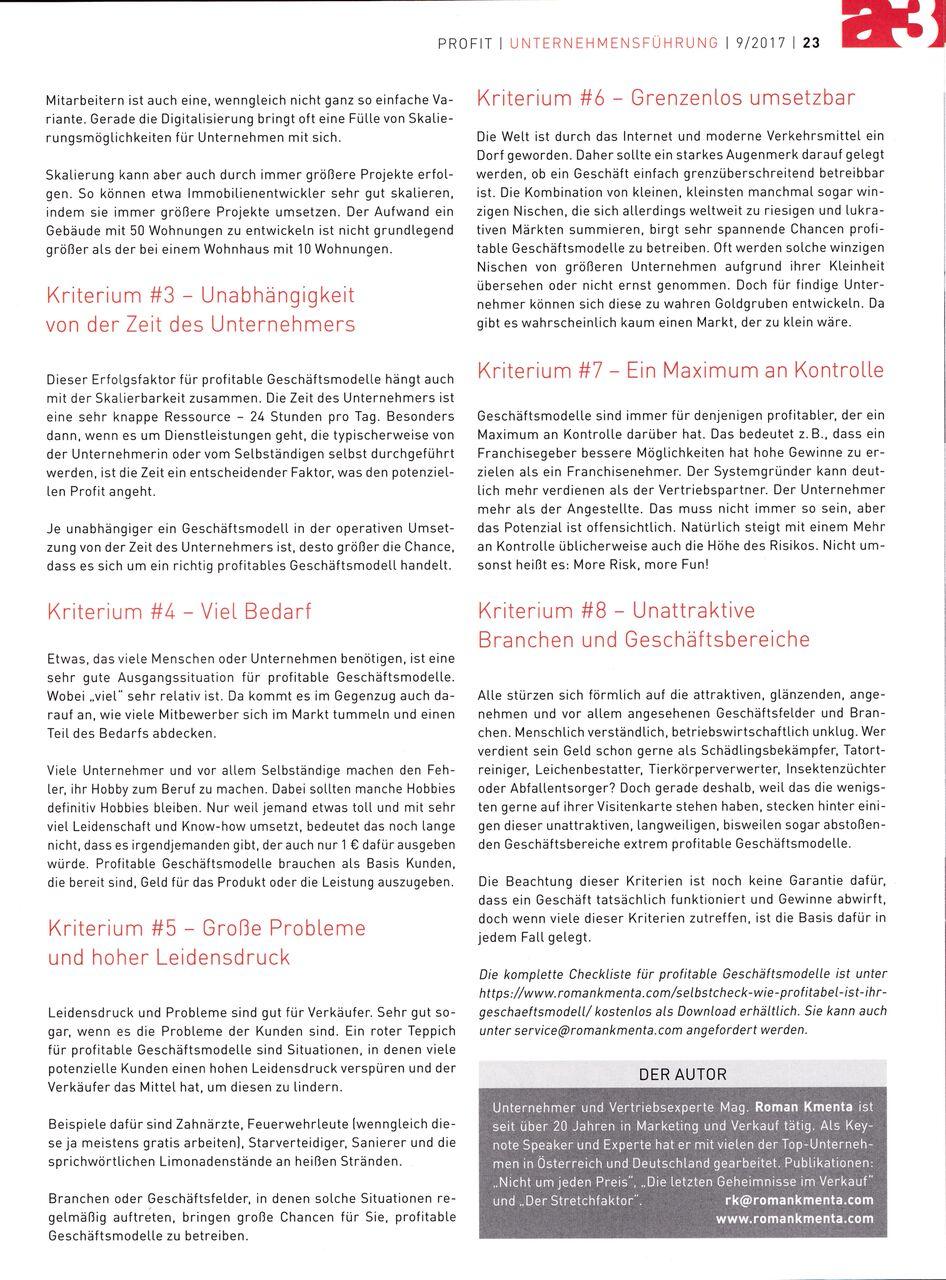 Geschäftsmodell profitable Zukunft? a3 Eco 09-2017 - Seite 2 - Roman Kmenta - Trainer und Autor