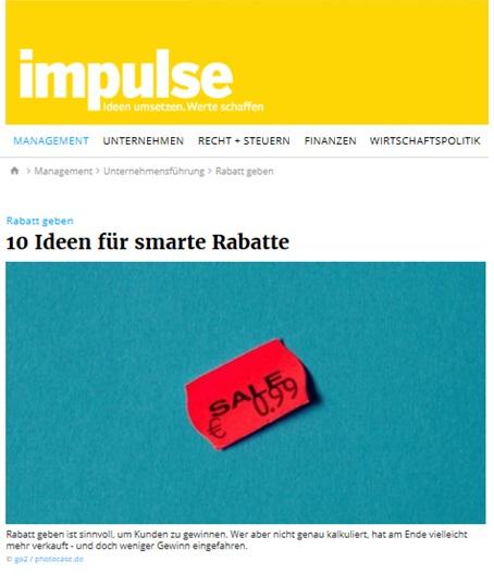 10 Ideen für smarte Rabatte - Rabattaktionen - Impulse.de 08/17 - Roman Kmenta - Autor und Experte für Preisstrategie