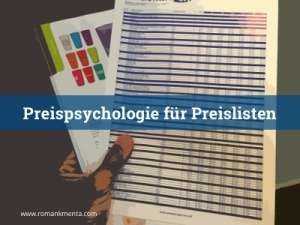 Preispsychologie für Preislisten - Kmenta