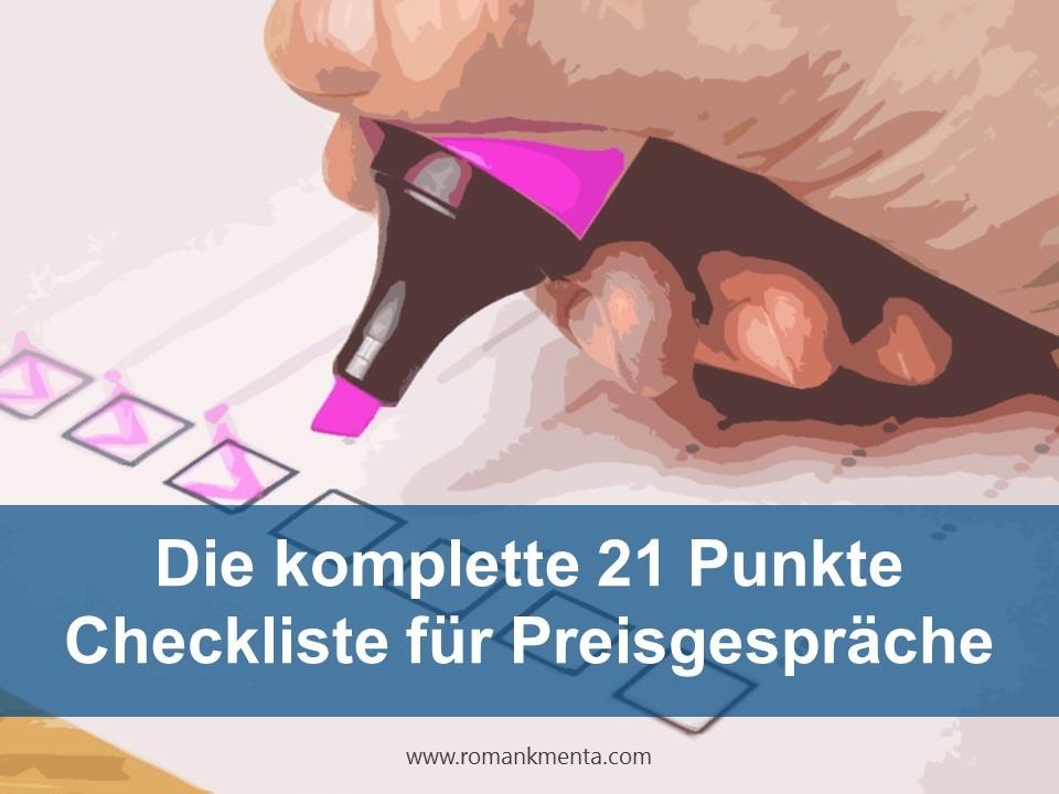 Checkliste Preisgespräch Preisverhandlung Vorbereitung - Roman Kmenta - Keynote Speaker und Preisexperte