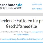 8 entscheidende Faktoren für profitable Geschäftsmodelle - Beitrag bei unternehmer.de - Roman Kmenta - Business Coach und Unternehmer