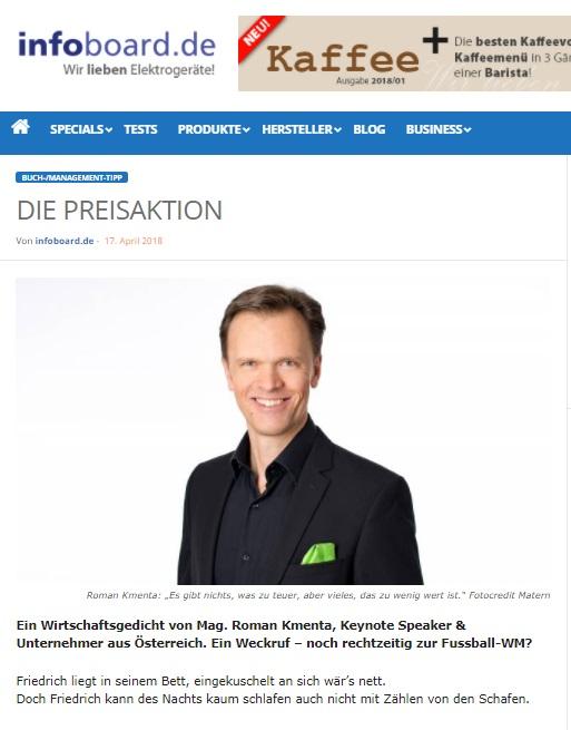 Die Preisaktion - Gedicht - Mag. Roman Kmenta und zu teuer E-Book - infoboard.de - 04/2018