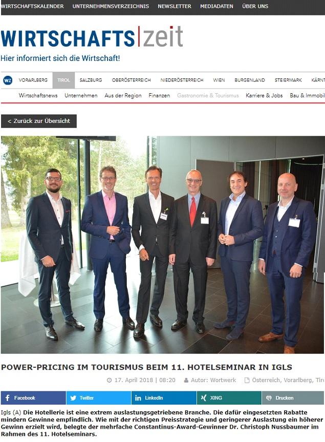 Power Pricing im Tourismus beim 11. Hotelseminar in Igls mit Keynote Speaker Mag. Roman Kmenta