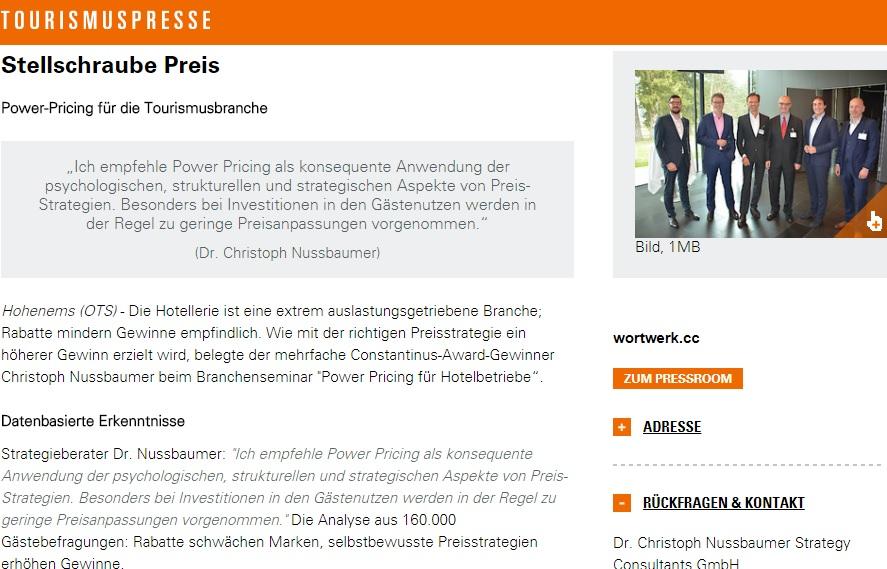 Stellschraube Preis - Powerpricing für Hotelbetriebe mit Keynote Speaker Mag. Roman Kmenta - tourismuspresse - 04/2018