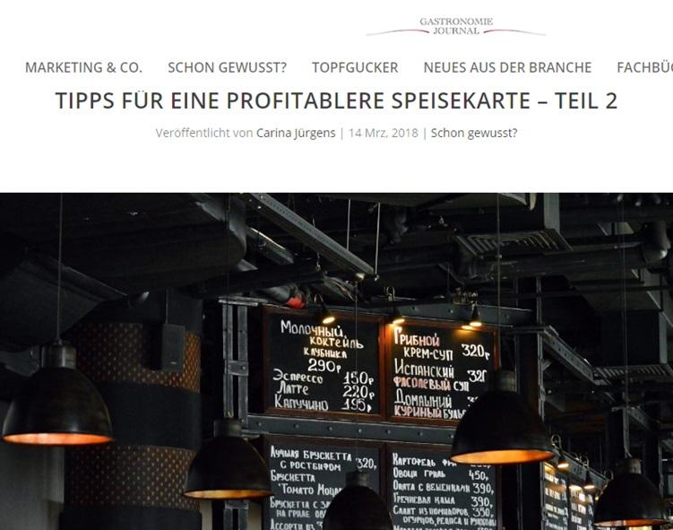 Tipps für profitablere Speisekarten Teil 2 - Gastronomie Journal - Mag. Roman Kmenta - Keynote Speaker und Autor