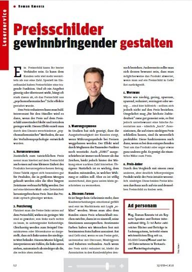 Preisschilder gewinnbringender gestalten - CASH Magazin - März 2018 - Mag. Roman Kmenta - Keynote Speaker und Autor