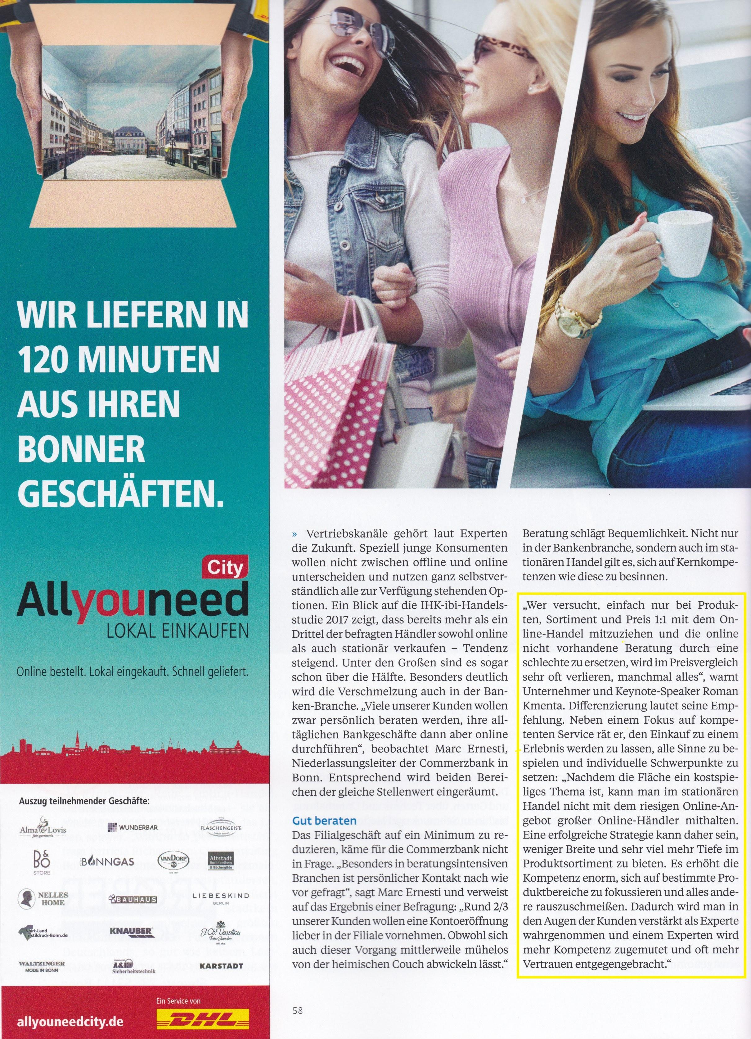 Top Magazin Bonn 3 - Differenzierung, USP, Wertsteigerung - Roman Kmenta - Keynote Speaker und Autor