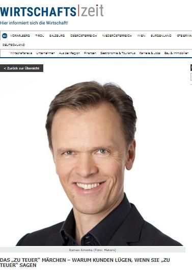 """Das """"zu teuer"""" Märchen - Warum Kunden lügen, wenn Sie """"zu teuer"""" sagen - Wertsteigerung - Mag. Roman Kmenta - Keynote Speaker und Autor"""