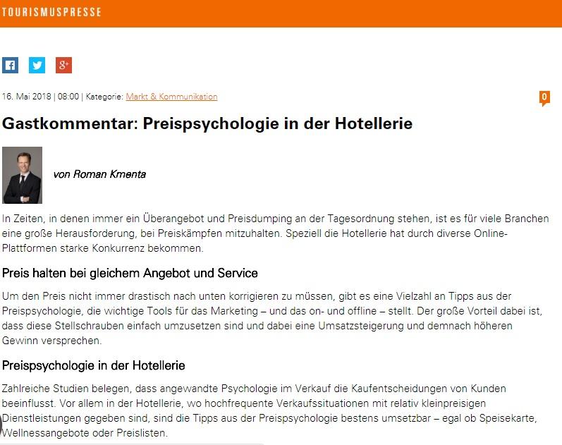 Gastkommentar Preispsychologie in der Hotellerie Teil 1 - Mag. Roman Kmenta - Preisexperte und Keynote Speaker