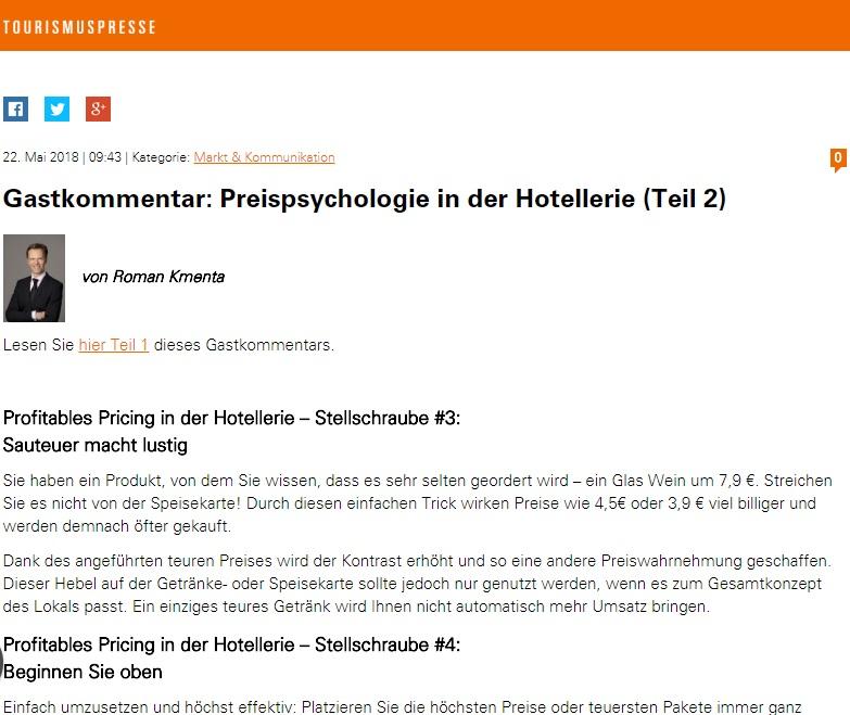 Gastkommentar Preispsychologie in der Hotellerie Teil 2 - Mag. Roman Kmenta - Preisexperte und Keynote Speaker