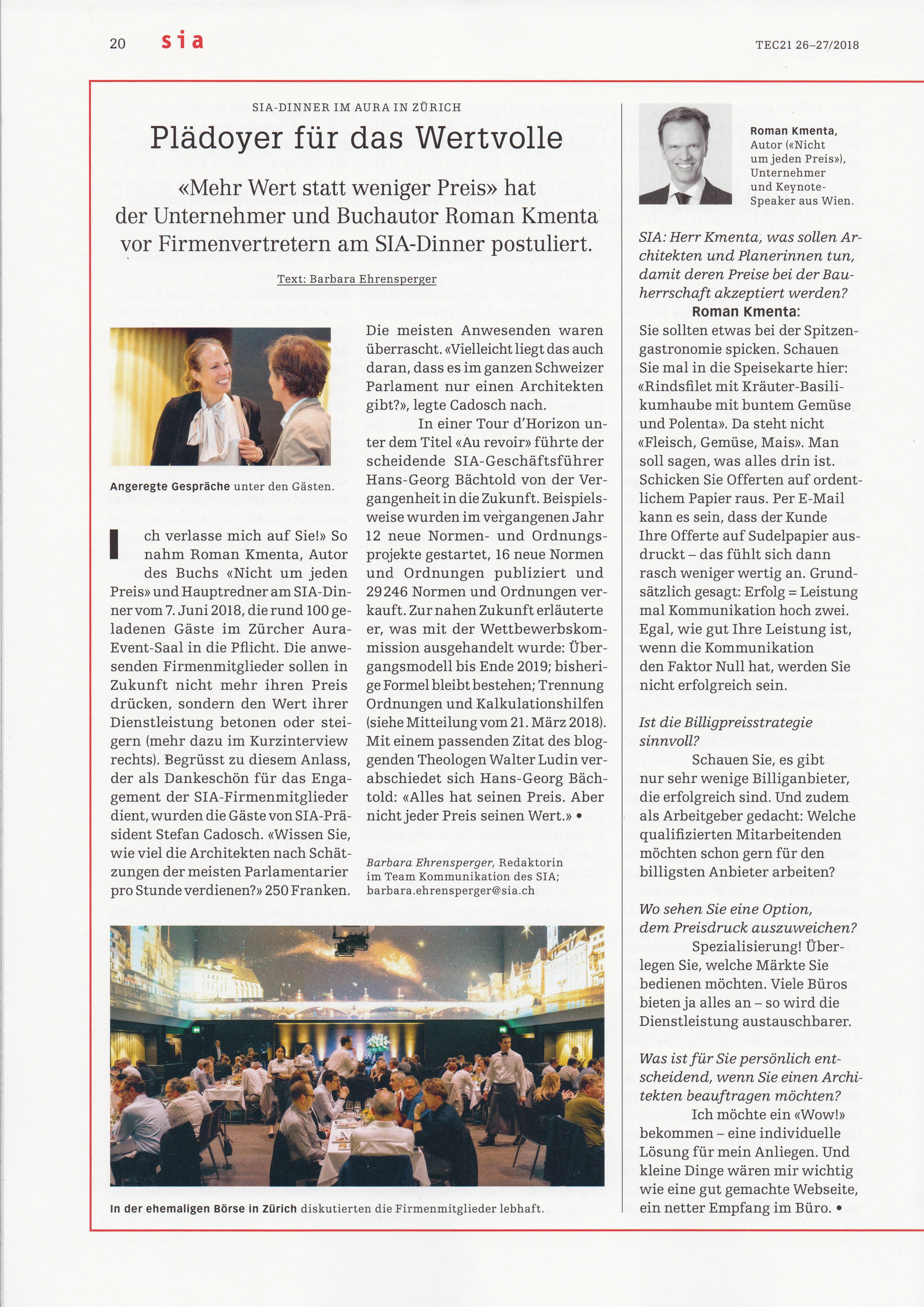 Plädoyer für das Wertvolle - TEC 21 - Schweizerische Bauzeitung - S. 20 - Mag. Roman Kmenta - Unternehmer und Buchautor