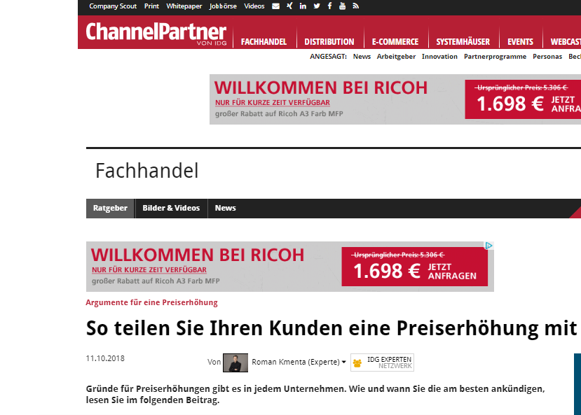 So teilen Sie Ihren Kunden eine Preiserhöhung mit - Channelpartner von IDG - Beitrag von Roman Kmenta - Preisexperte