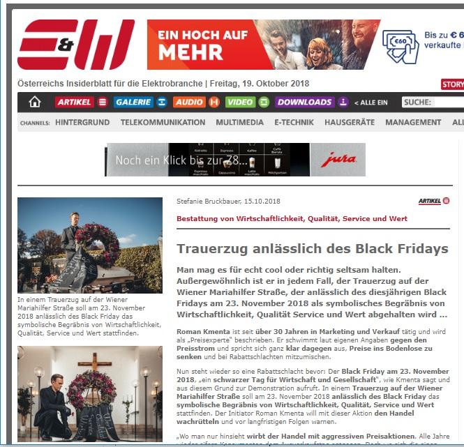 Trauerzug anlässlich des Black Fridays - Black Friday - Preisaktionen - Rabatte - - E & W - elektro.at - Beitrag von Stefanie Bruckbauer - Mag. Roman Kmenta - Preisexperte, Wirtschaftsexperte