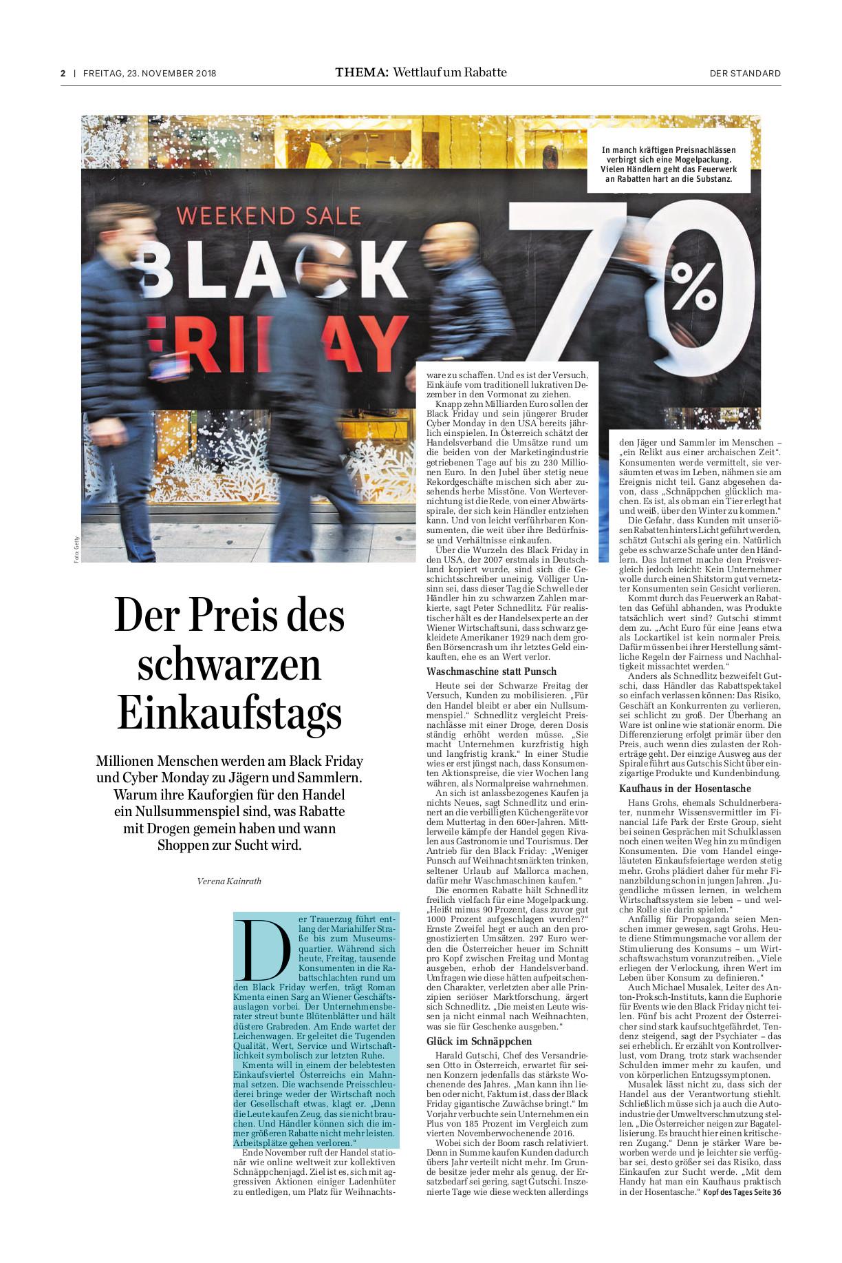 Trauerzug zum Black Friday - Preisexperte Mag. Roman Kmenta - Der Standard - 23.11.2018