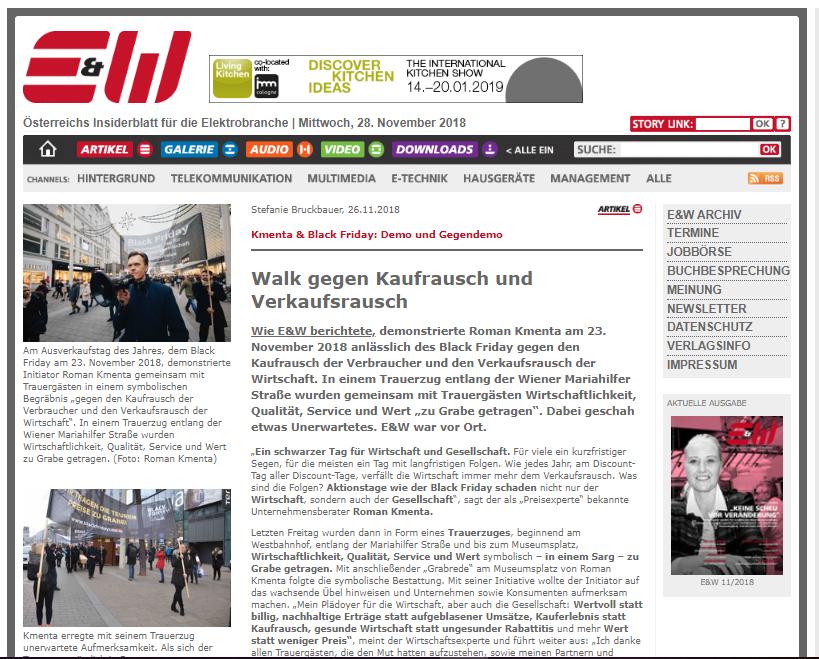 E&W - Nachberichterstattung Black Friday Walk - Preisexperte Mag. Roman Kmenta