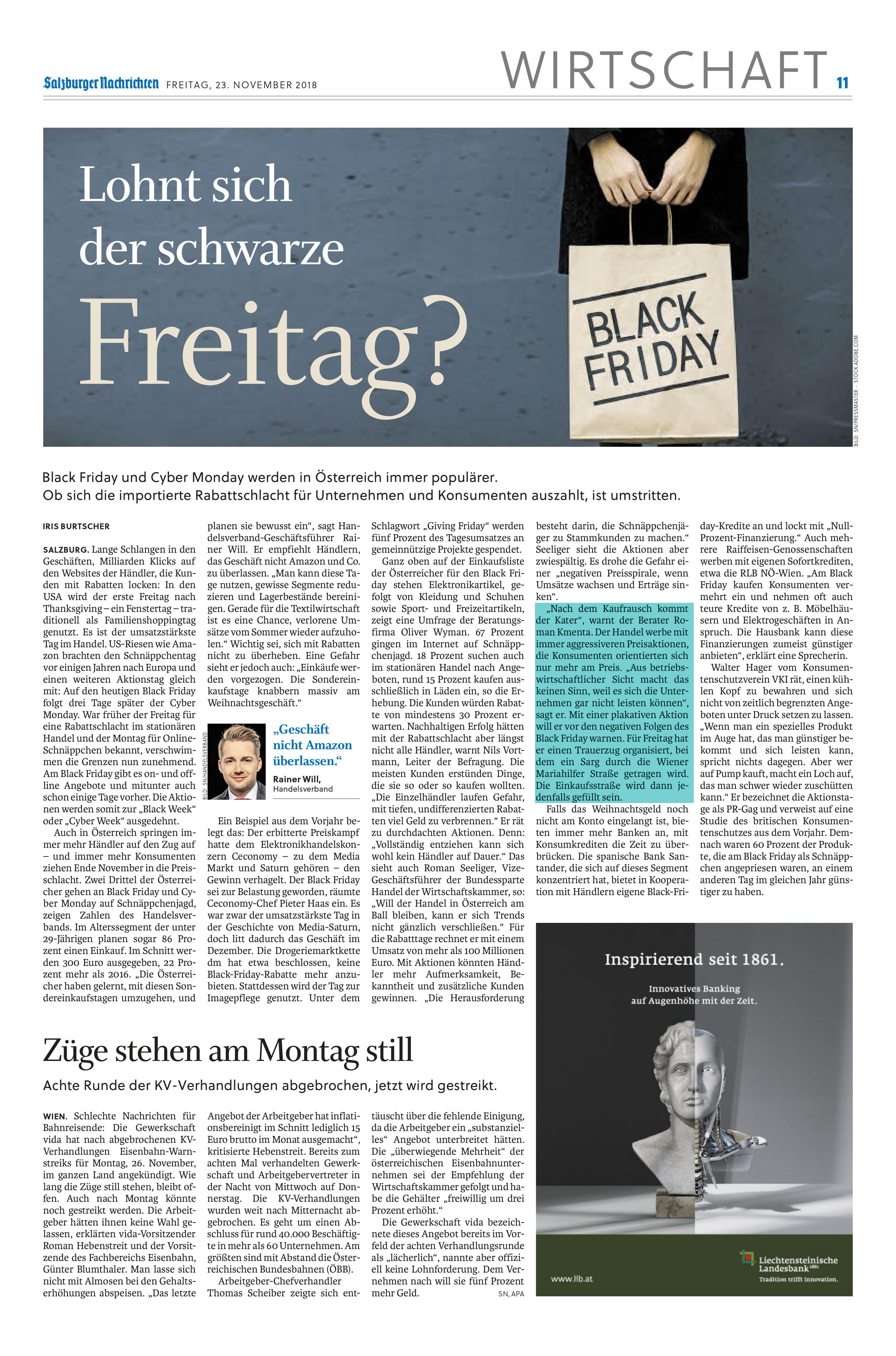 Trauerzug zum Black Friday anlässlich der Rabattschlachten - Preisexperte Mag. Roman Kmenta - Salzburger Nachrichten 23.11.2018
