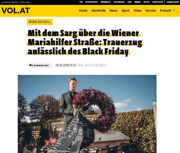 Mit dem Sarg über die Wiener Mariahilfer Straße: Trauerzug anlässlich des Black Friday - VOL.at - Roman Kmenta - Preisexperte