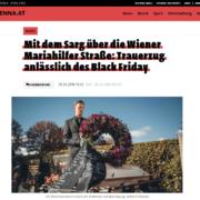 Mit dem Sarg über die Wiener Mariahilfer Straße: Trauerzug anlässlich des Black Friday - VIENNA.AT - Roman Kmenta - Preisexperte
