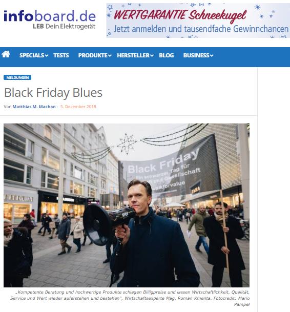 Black Friday Blues - Ein Bericht über den Trauerzug von Initiator Mag. Roman Kmenta - infoboard.de 12/2018