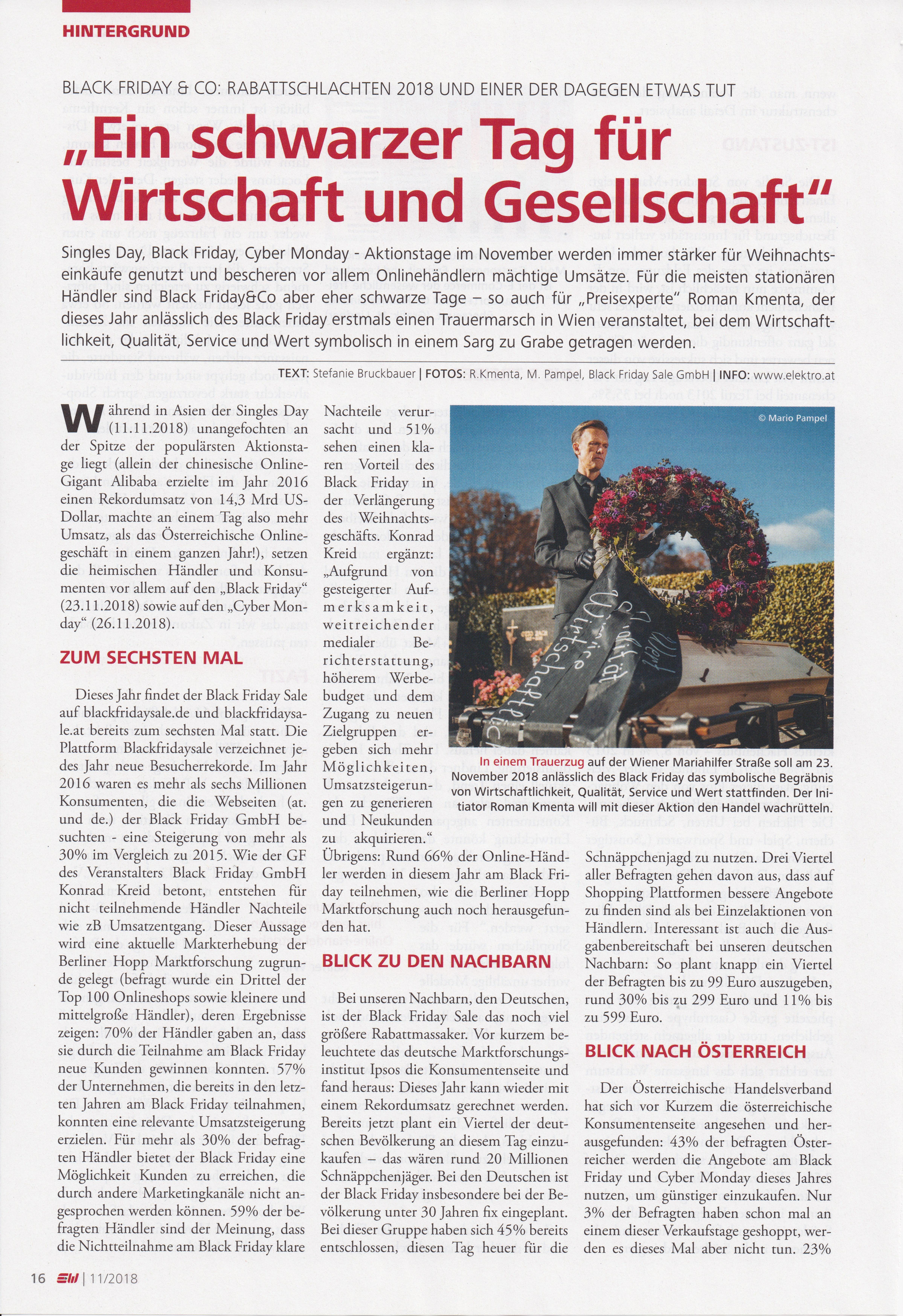 E&W - 11/2018 - 1 -Ein schwarzer Tag für Wirtschaft und Gesellschaft - Mag. Roman Kmenta