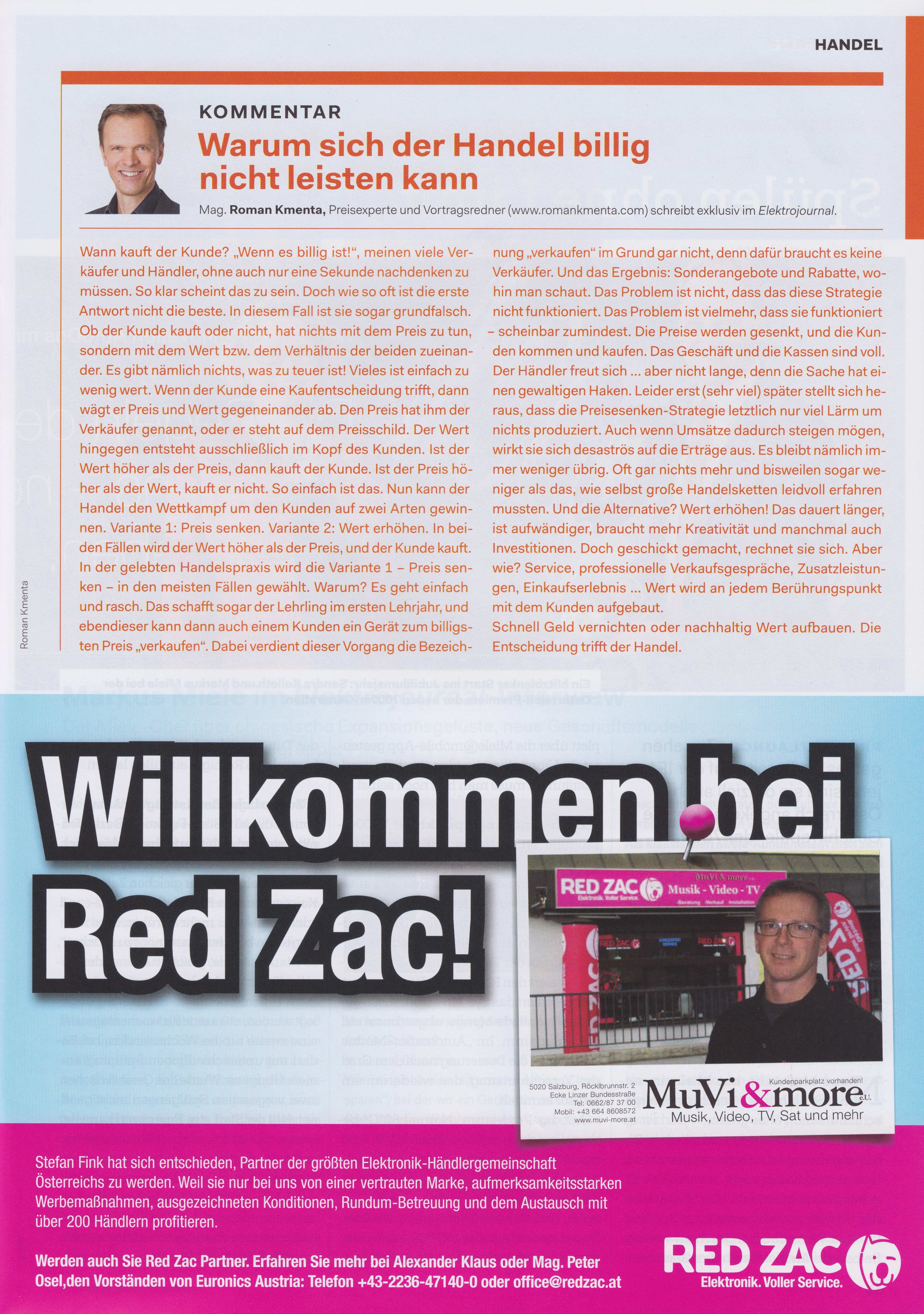 Elektrojournal 01-02 2019 - Beitrag Mag. Roman Kmenta - Warum sich der Handel billig nicht leisten kann