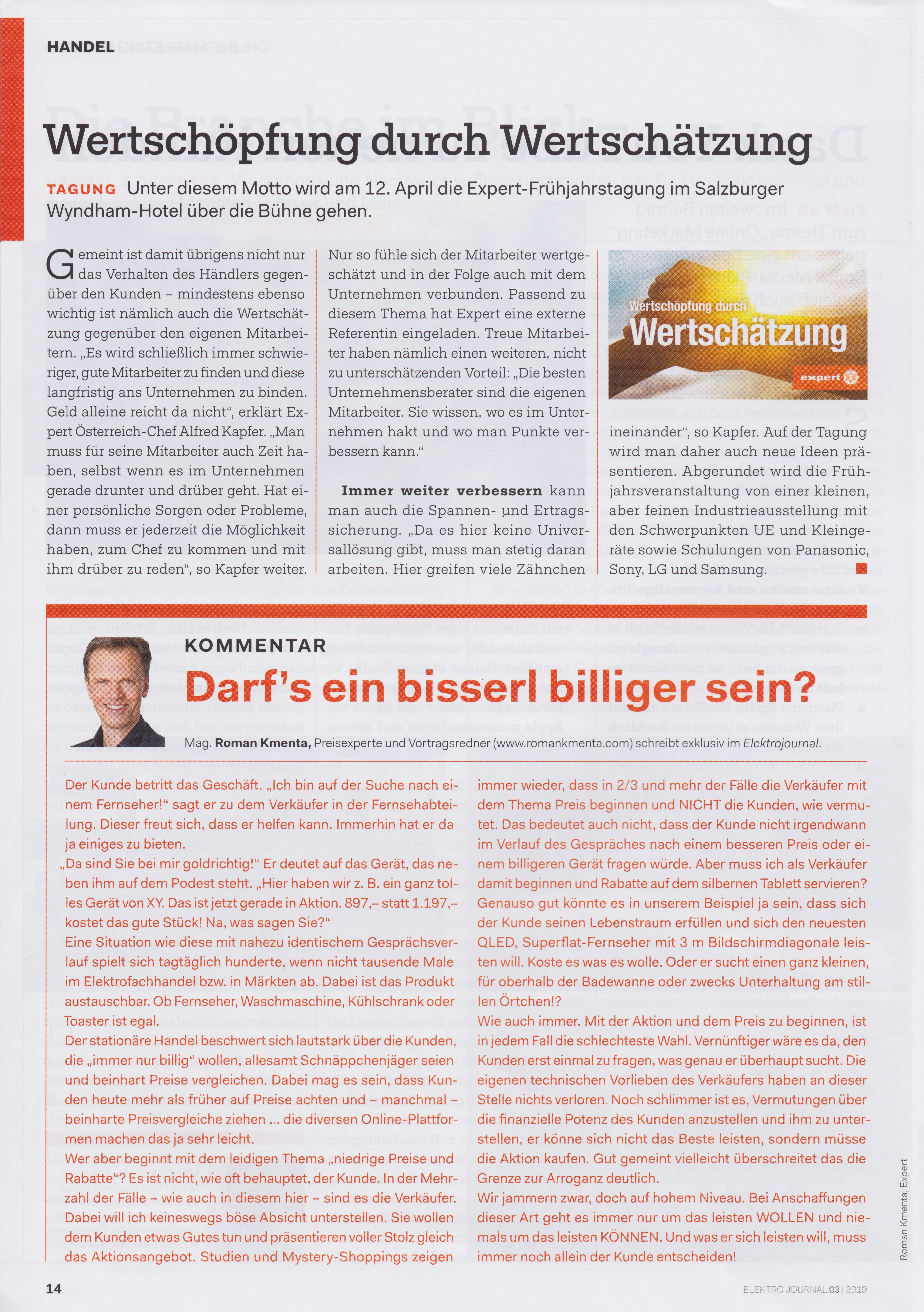 Elektrojournal 03 2019 - Kommentar von Mag. Roman Kmneta - Darf's ein bisserl mehr sein?