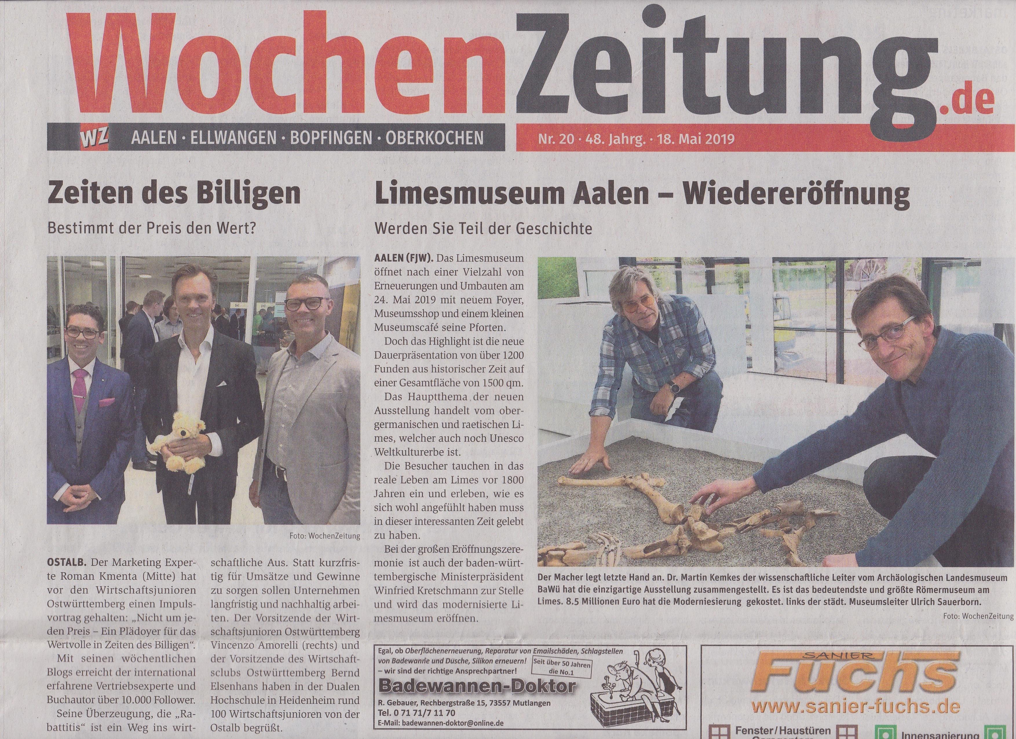 WochenZeitung - Keynote Speaker Roman Kmenta bei den Wirtschaftsjunioren Ostwürttemberg